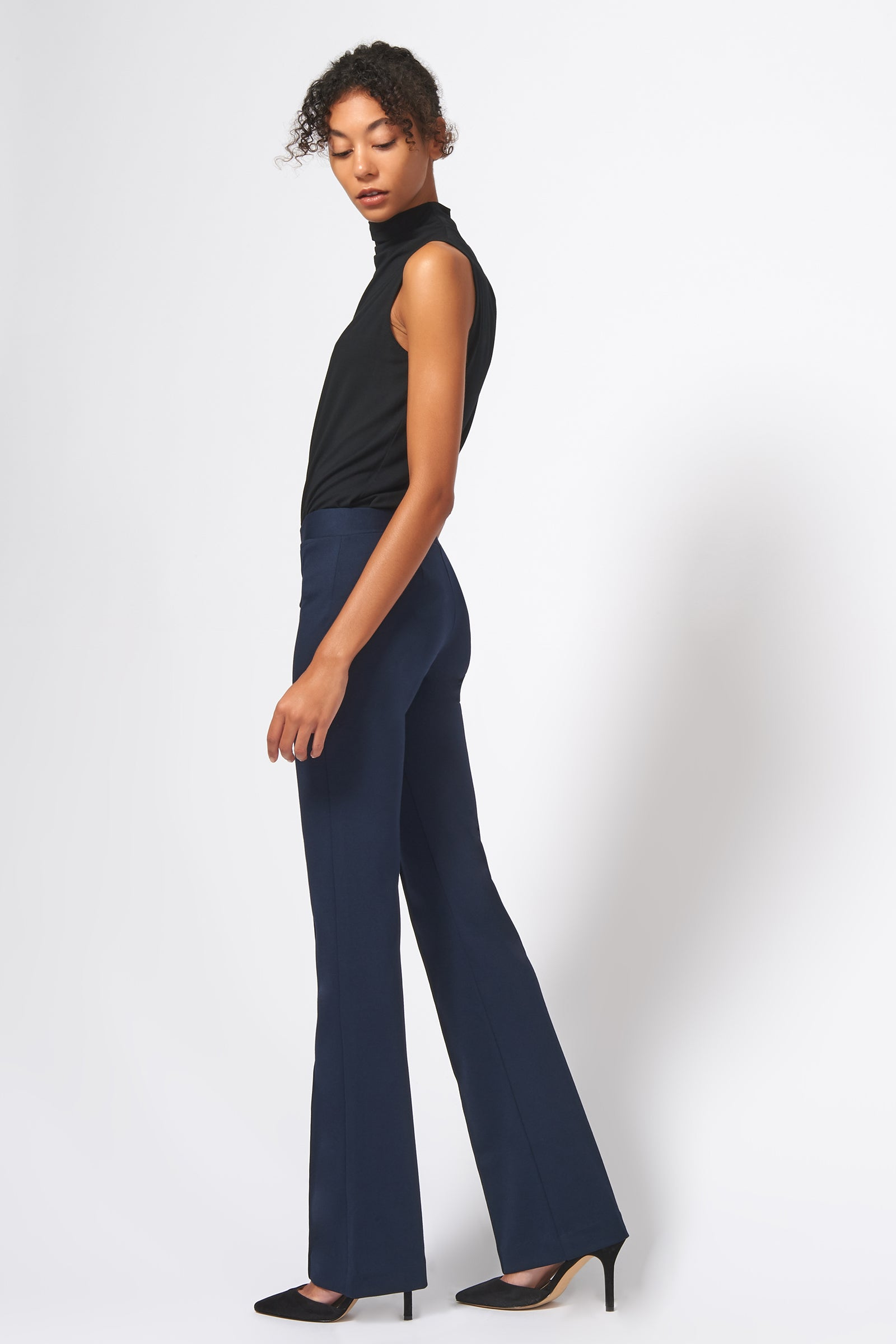 Kal Rieman Pintuck Ponte Column Pant in Navy on Model Full Side View