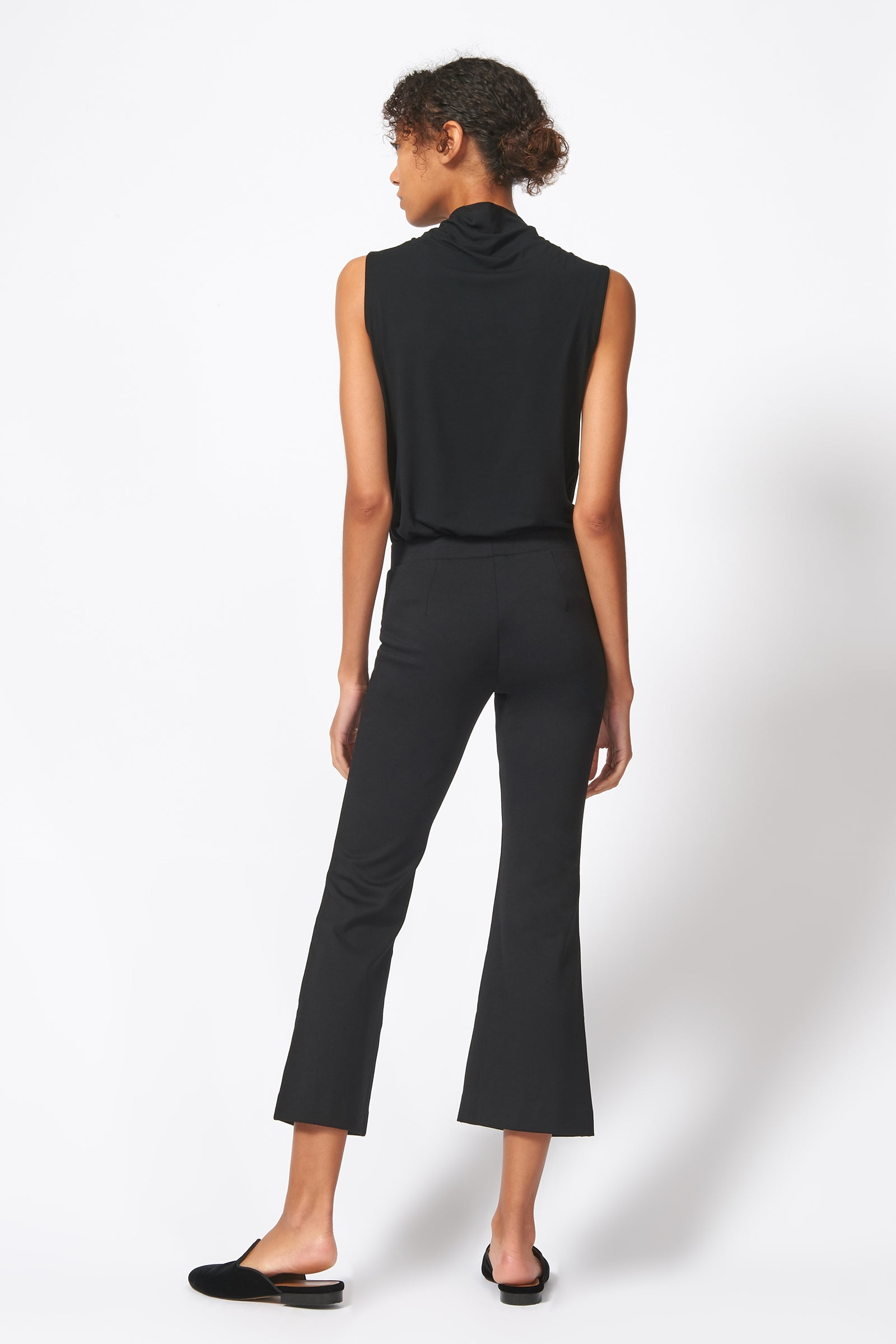 Kal Rieman Pintuck Ponte Crop Flare Pant in Black on Model Full Front View