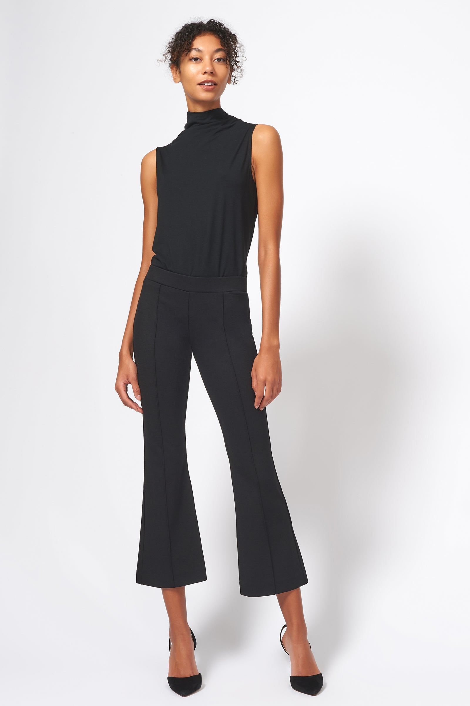 Kal Rieman Pintuck Ponte Crop Flare Pant in Black on Model Full Front Alternate View