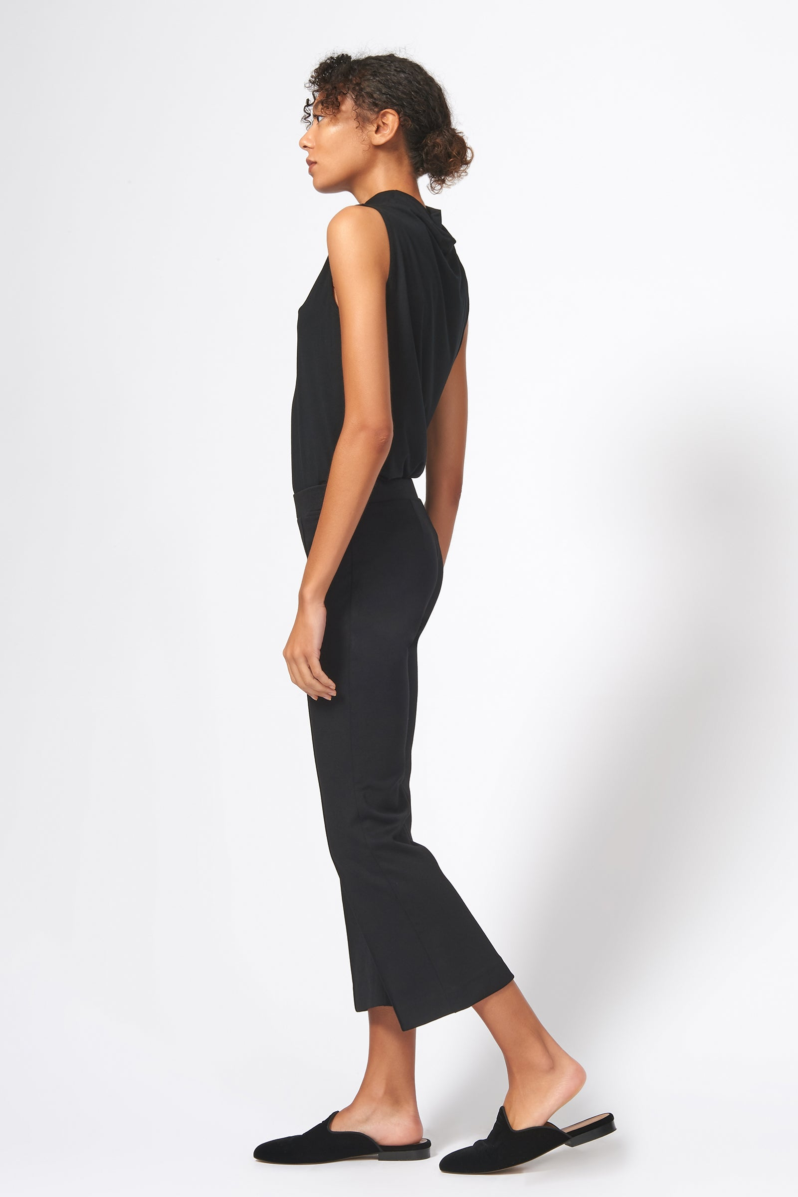 Kal Rieman Pintuck Ponte Crop Flare Pant in Black on Model Full Side View