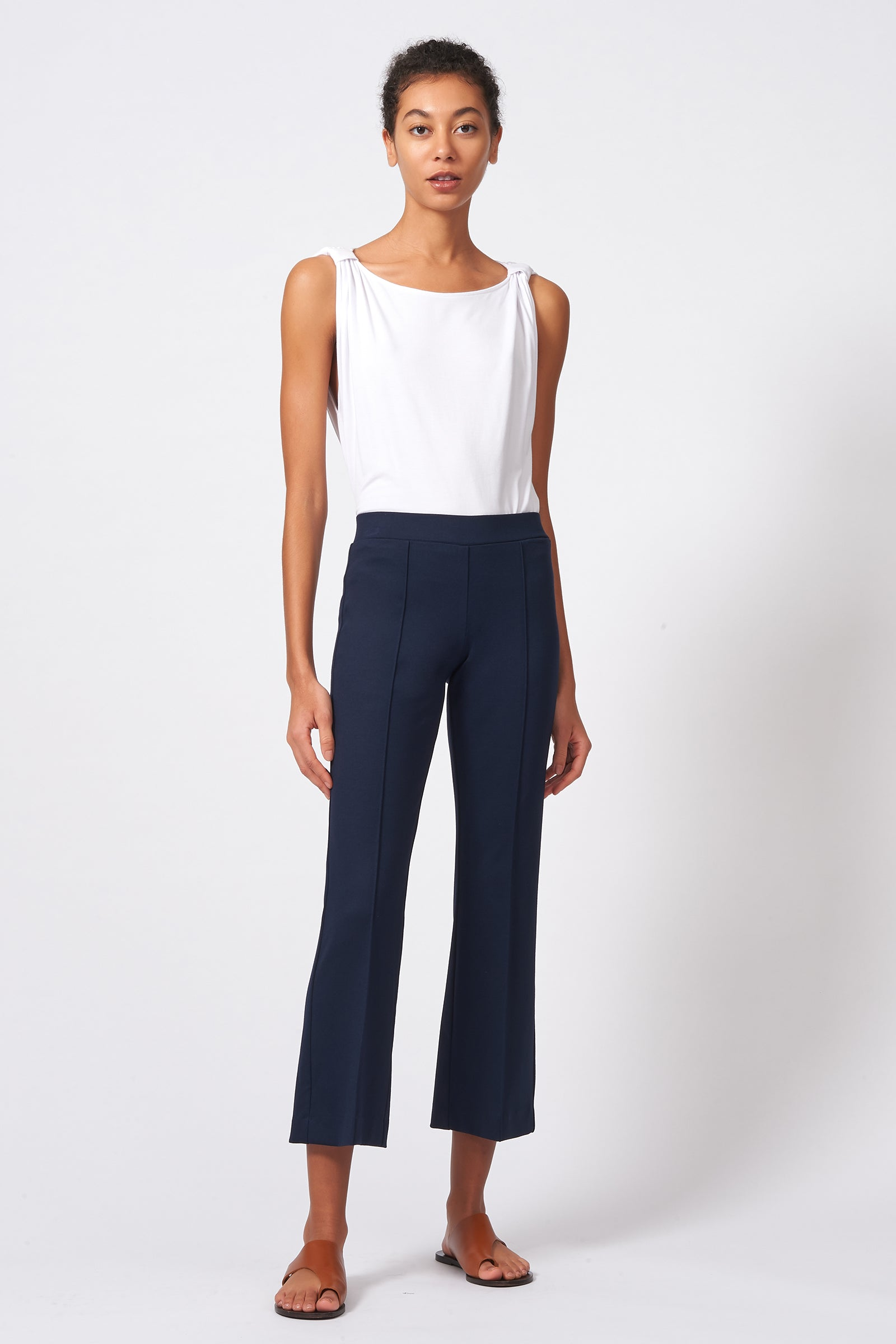Kal Rieman Pintuck Crop Flare in Navy on Model Front Full View