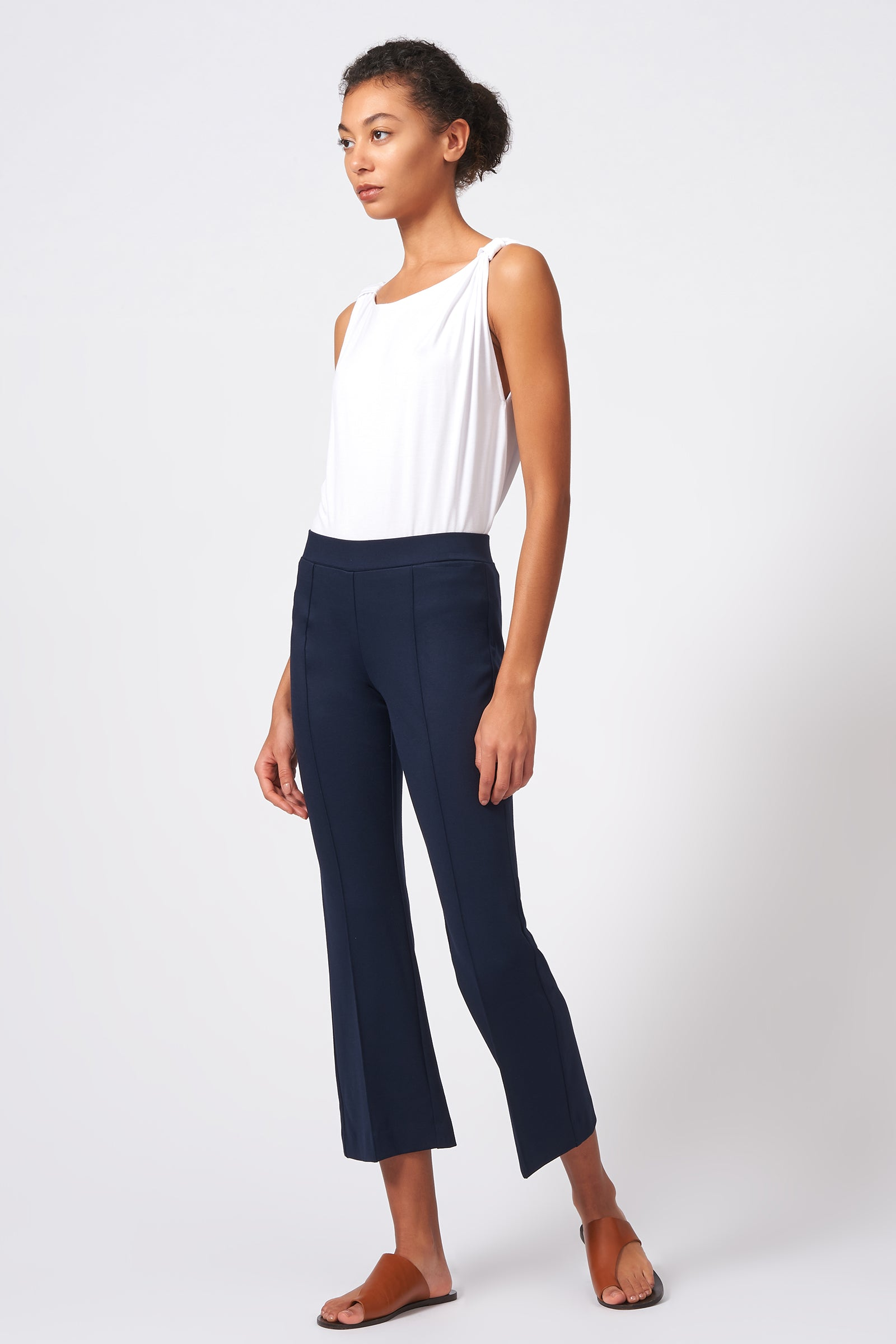 Kal Rieman Pintuck Crop Flare in Navy on Model Front Side Full View