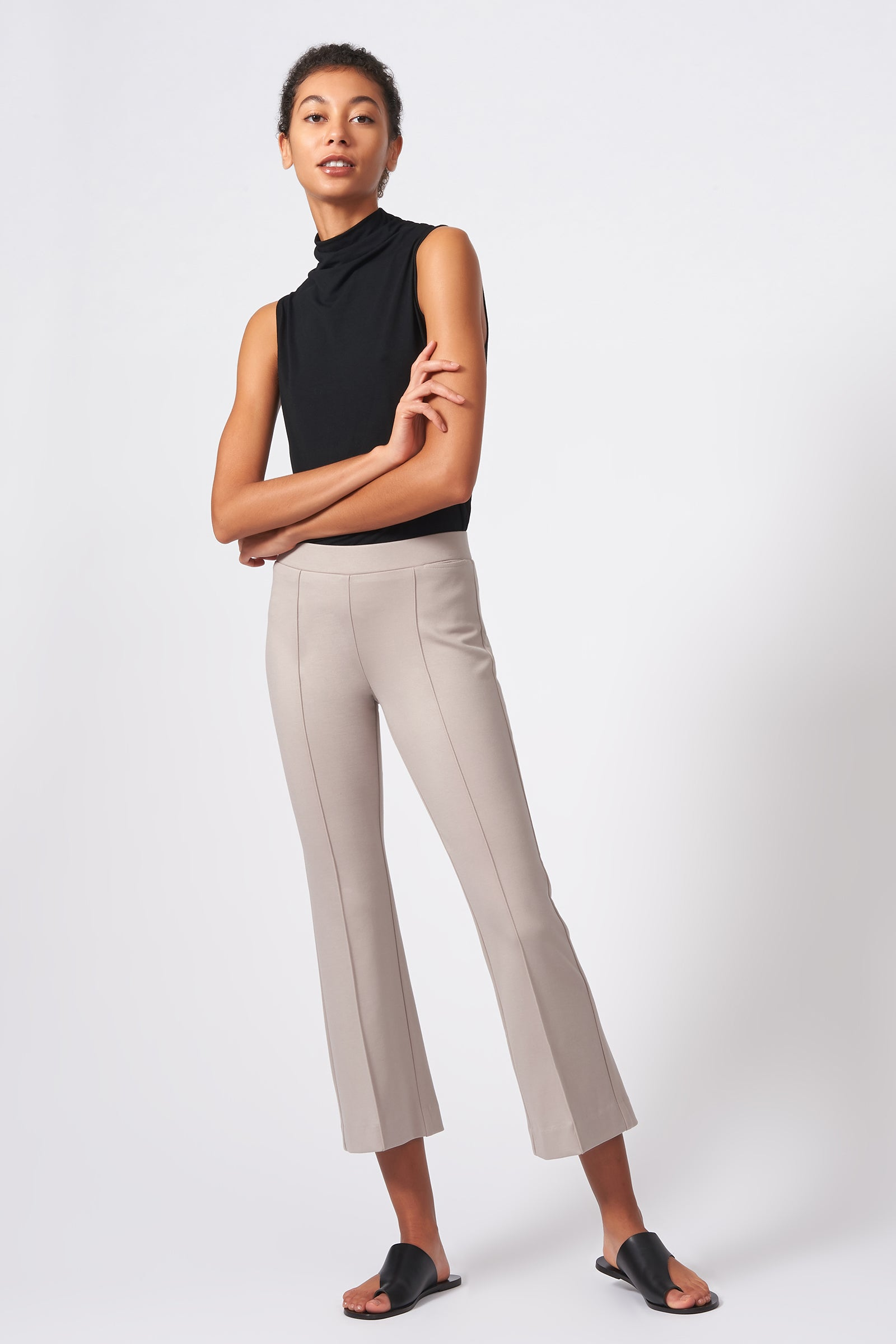 Kal Rieman Pintuck Ponte Crop Flare Pant in Taupe on Model Full Front View