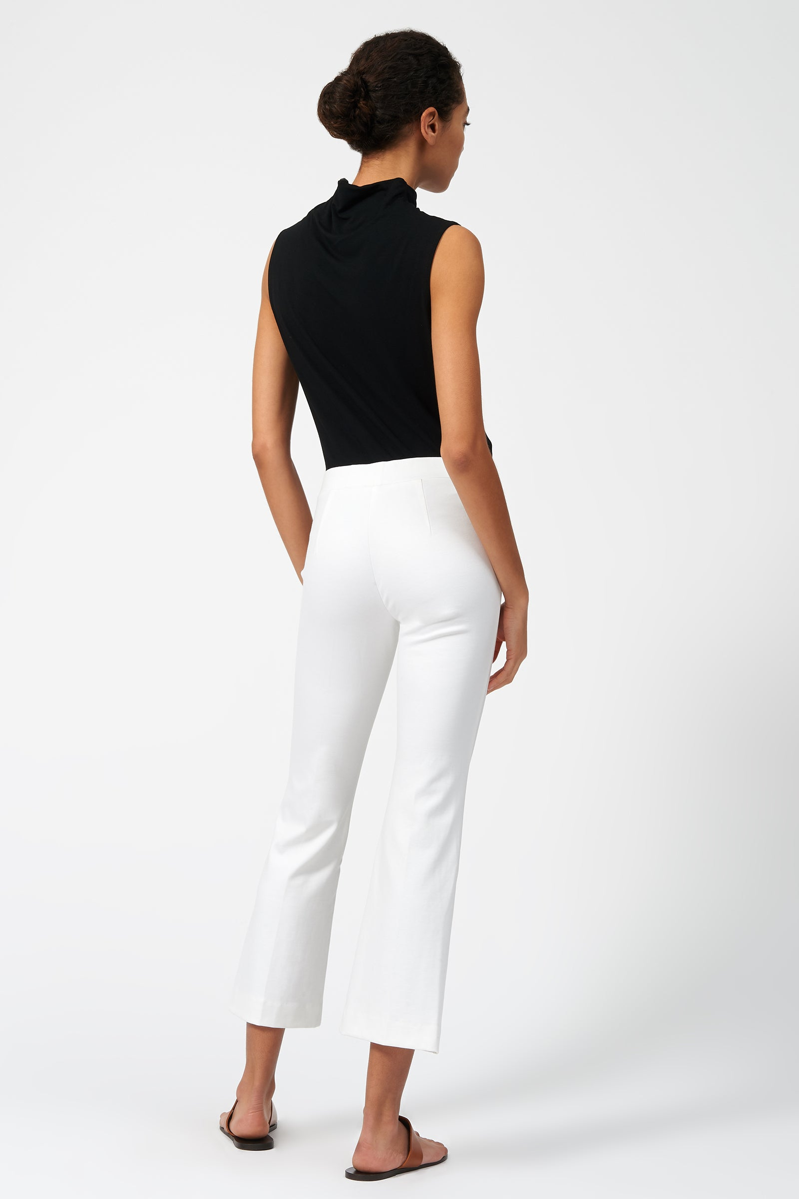Kal Rieman Pintuck Ponte Crop Flare Pant in White on Model Full Front View