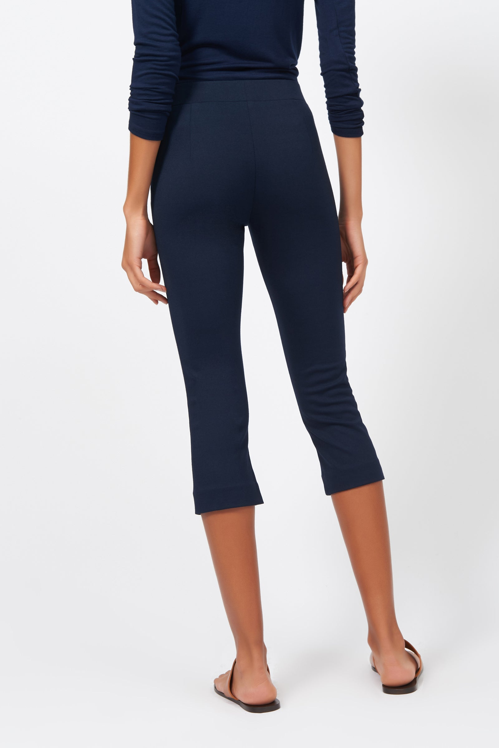 Kal Rieman Pintuck Ponte 3/4 Pant in Navy on Model Full Front Side View