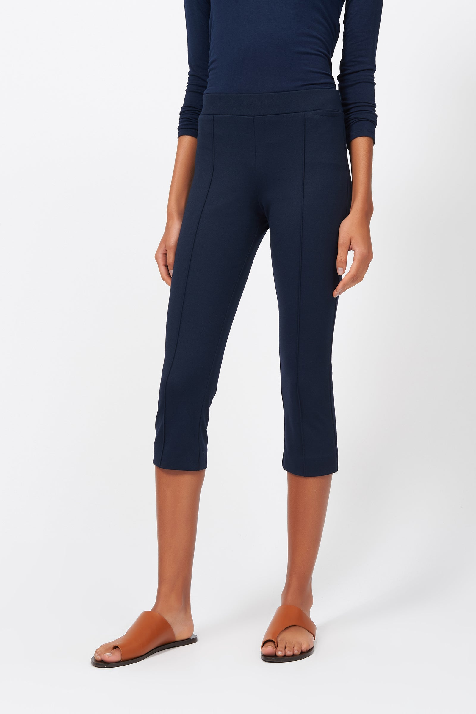 Kal Rieman Pintuck Ponte 3/4 Pant in Navy on Model Front View