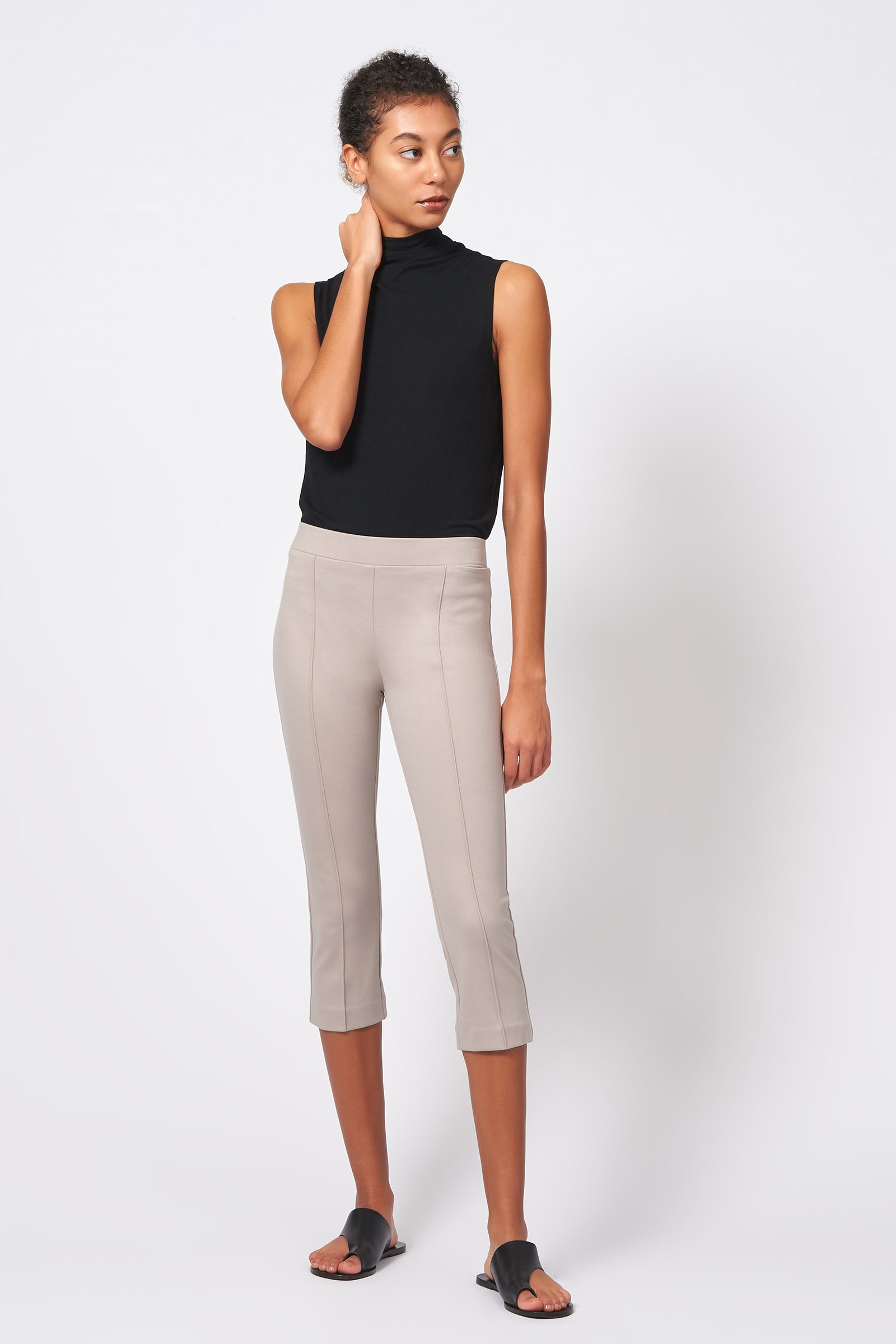 Kal Rieman Pintuck Ponte 3/4 Pant in Taupe on Model Full Front View
