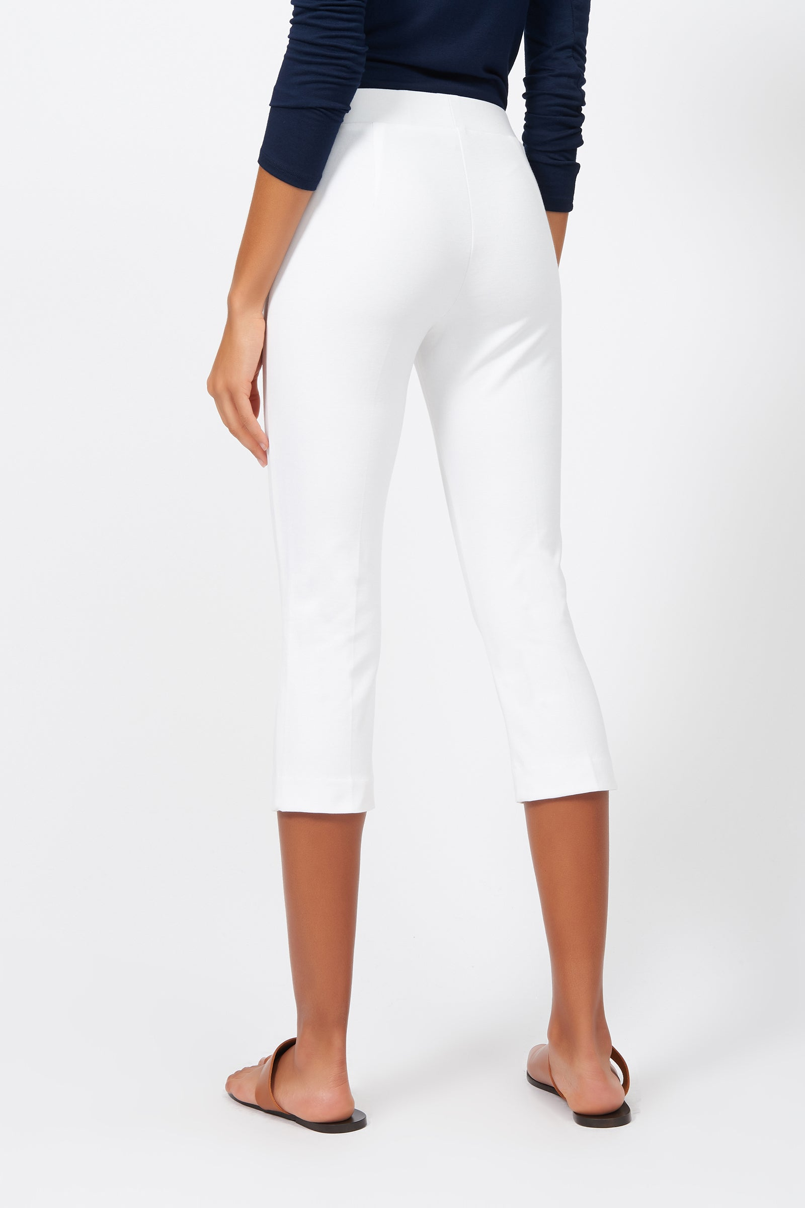 Kal Rieman Pintuck Ponte 3/4 Pant in White on Model Full Front View
