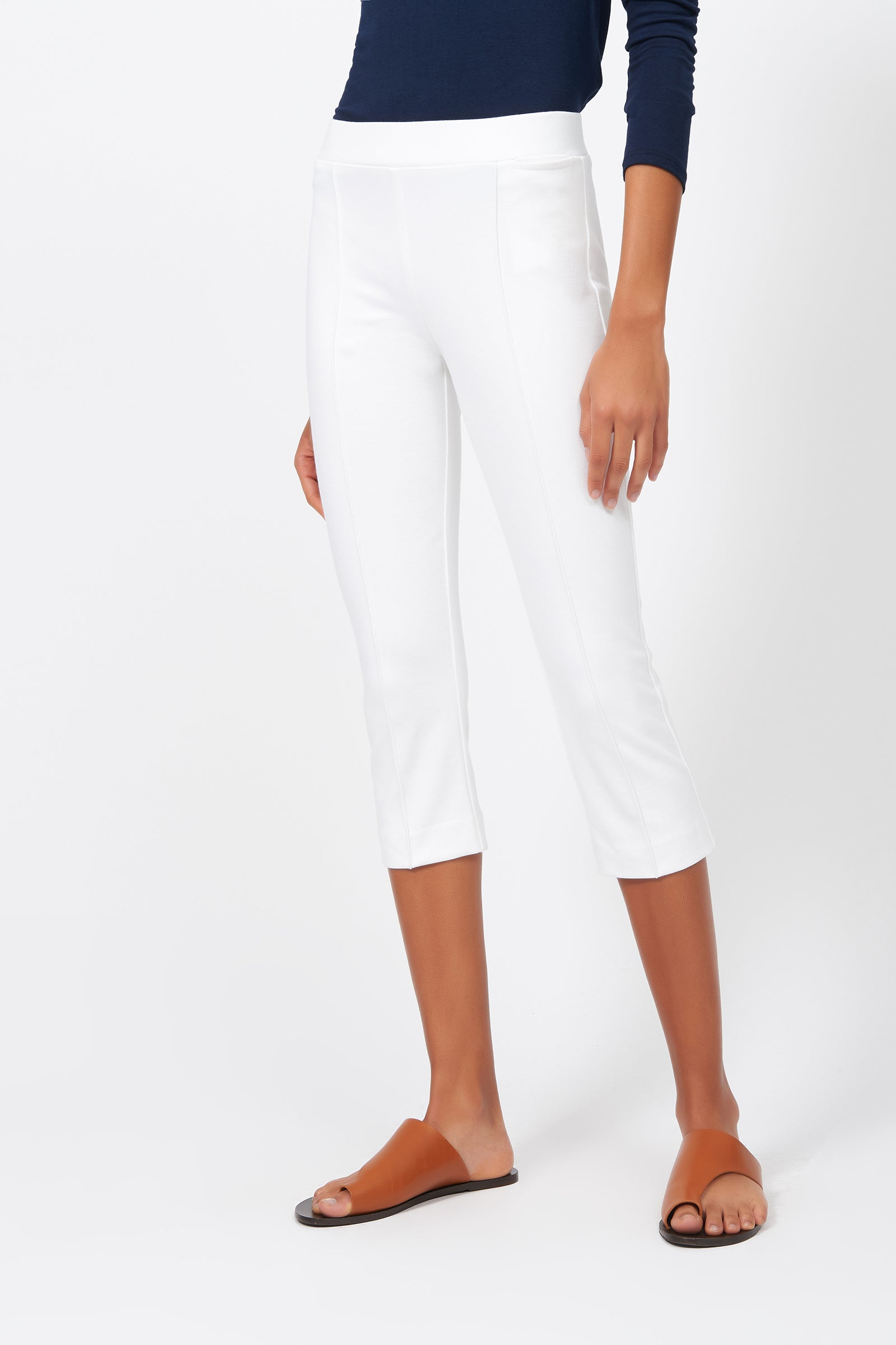Kal Rieman Pintuck Ponte 3/4 Pant in White on Model Front View