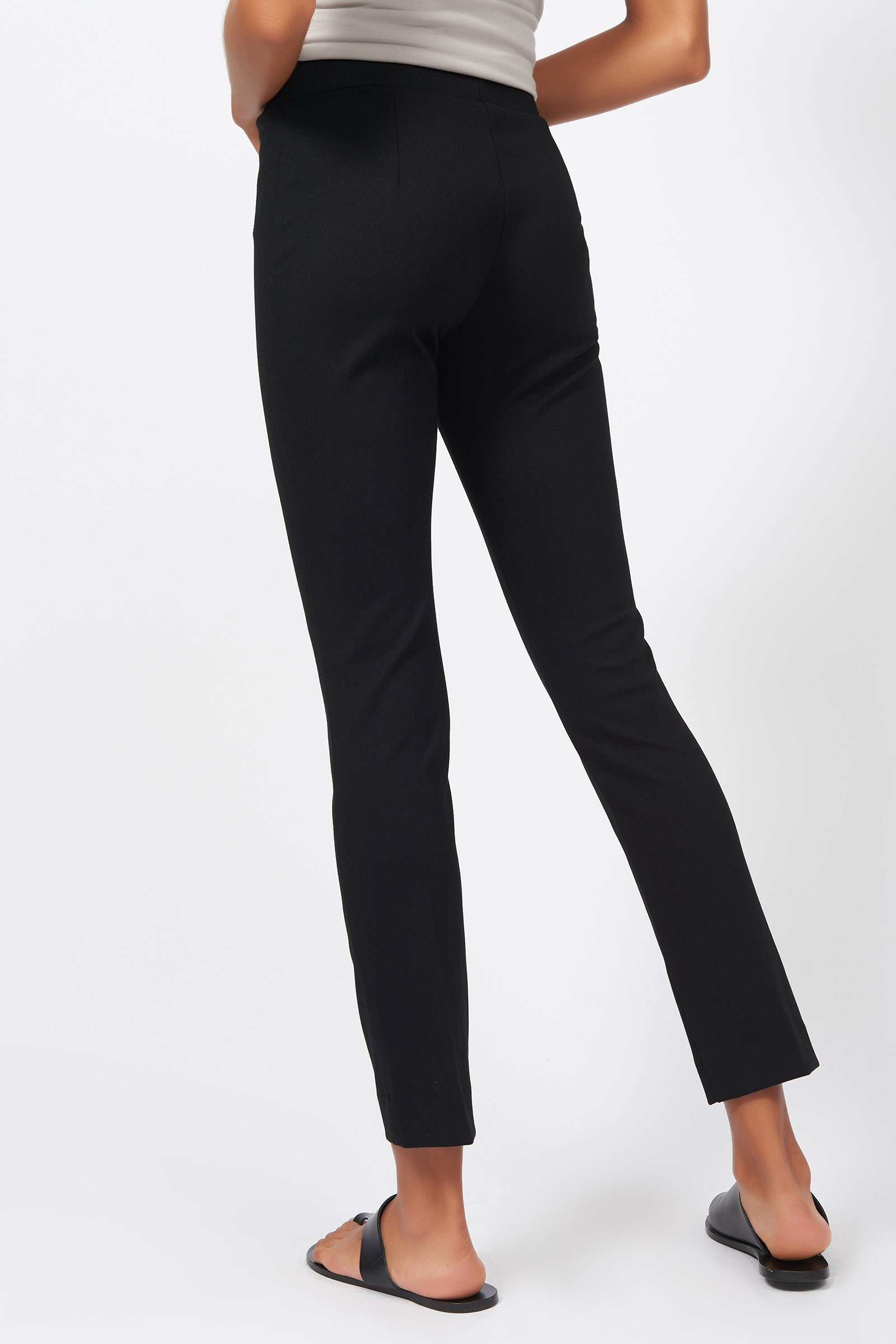 Kal Rieman Pintuck Ponte Ankle Pant in Black on Model Back View