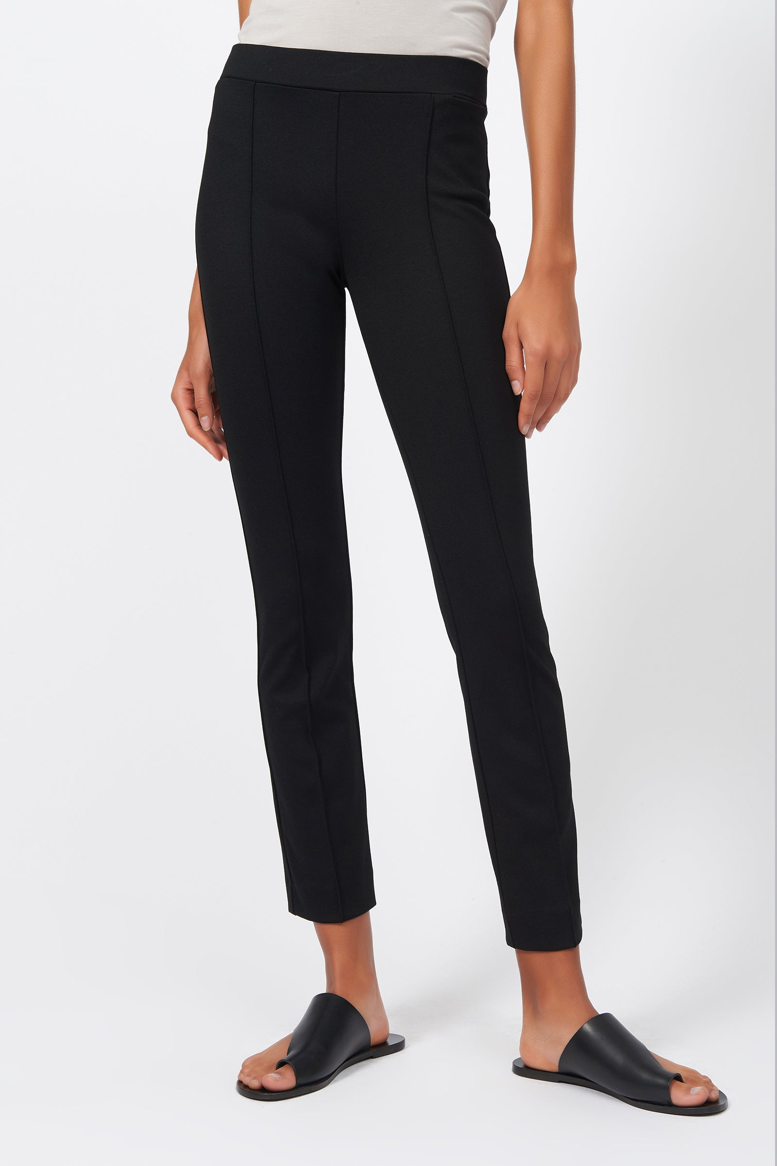 Kal Rieman Pintuck Ponte Ankle Pant in Black on Model Front Detail View