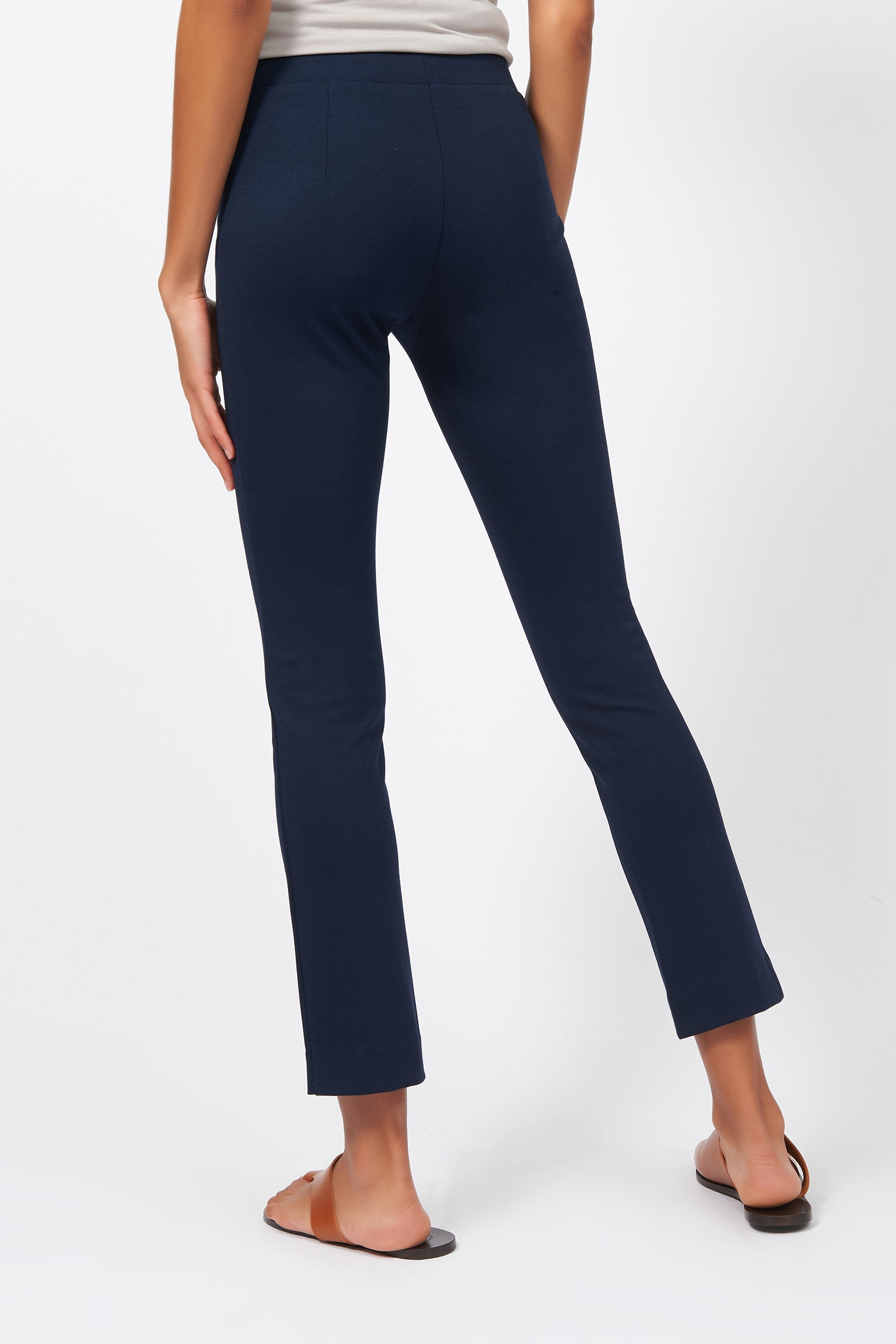 Kal Rieman Pintuck Ponte Ankle Pant in Navy on Model Back View