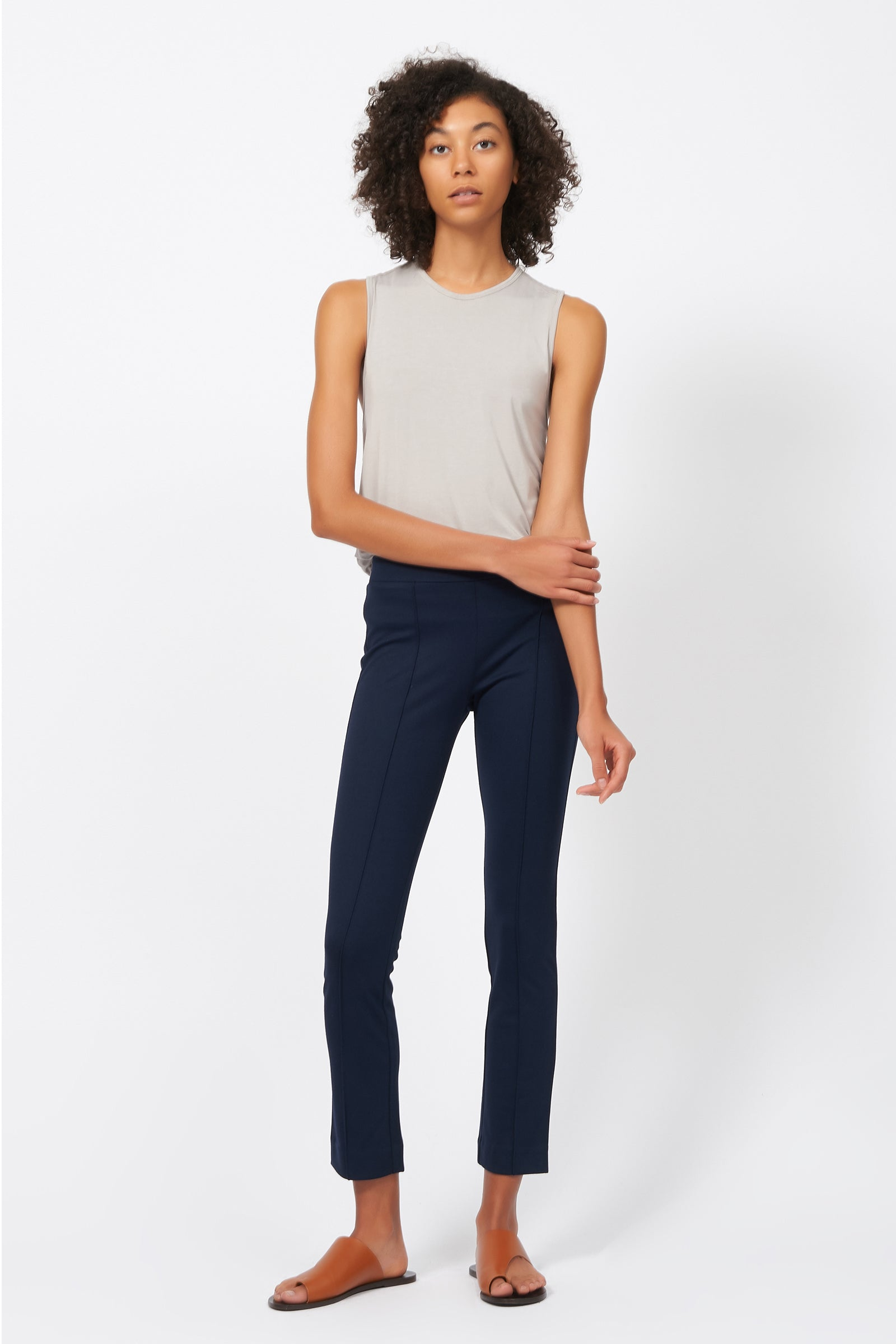 Kal Rieman Pintuck Ponte Ankle Pant in Navy on Model Full Front View
