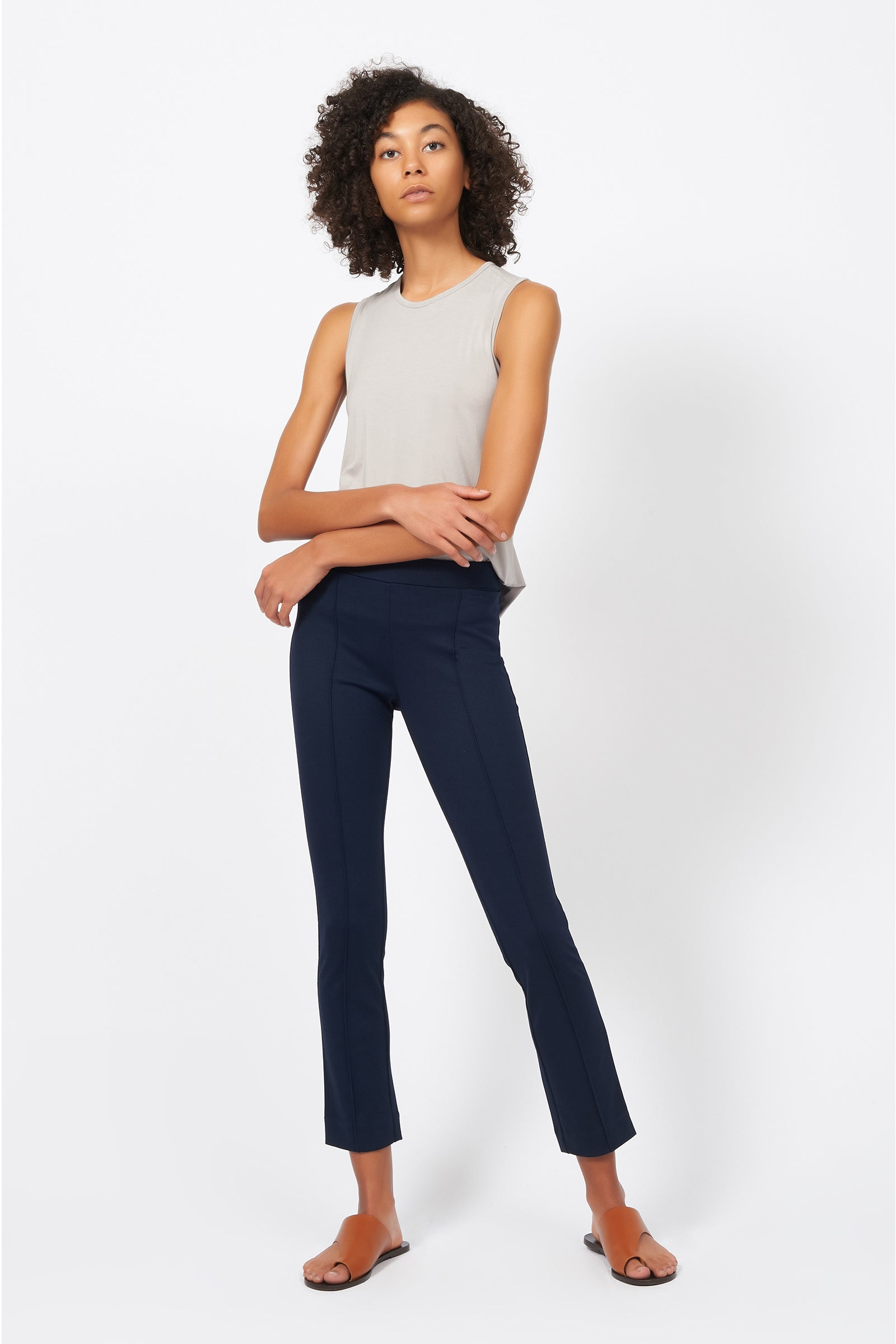 Kal Rieman Pintuck Ponte Ankle Pant in Navy on Model Full Front Alternate View