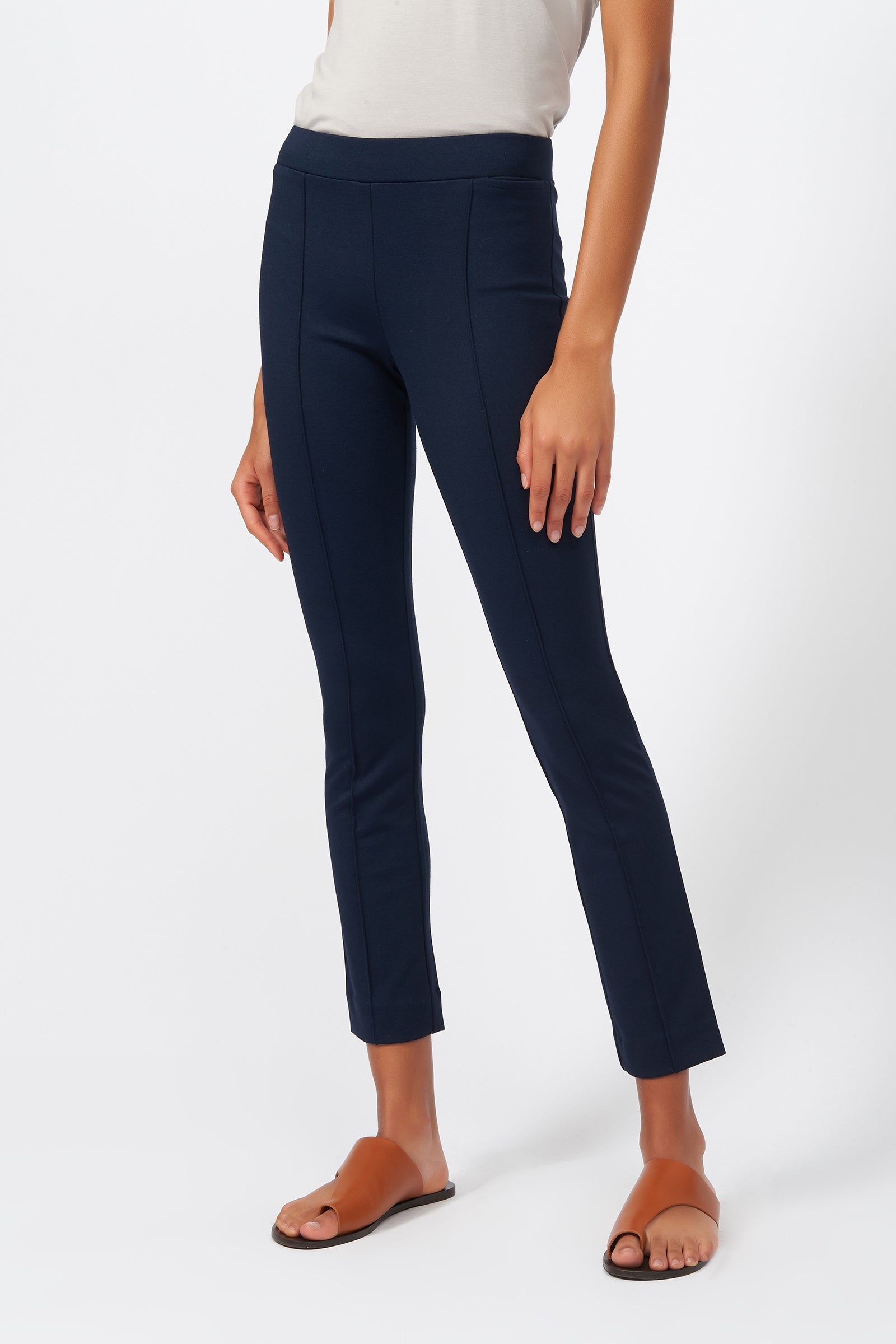 Kal Rieman Pintuck Ponte Ankle Pant in Navy on Model Front View