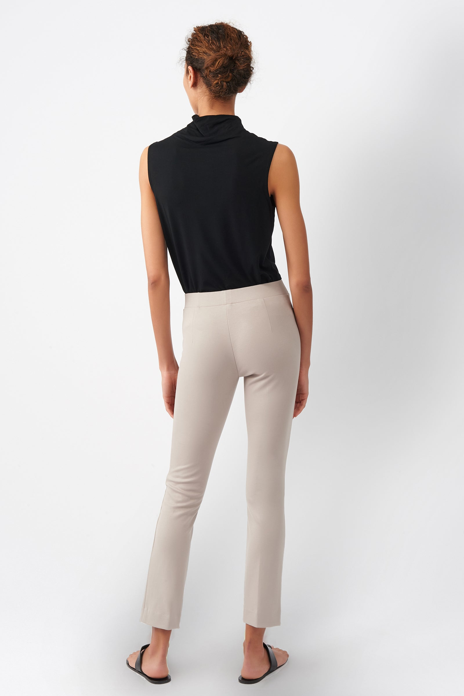 Kal Rieman Pintuck Ponte Ankle Pant in Taupe on Model Front View
