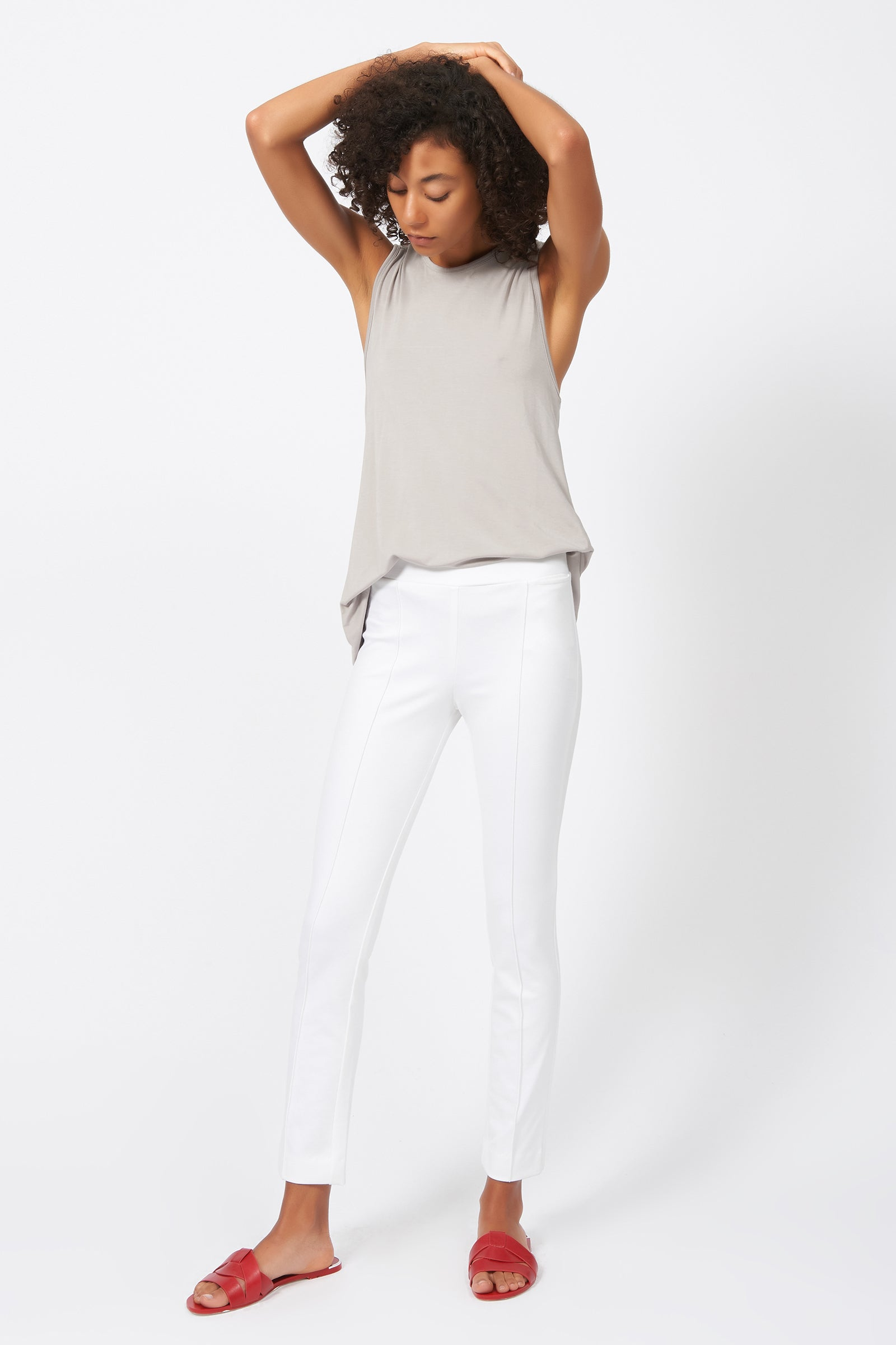 Kal Rieman Pintuck Ponte Ankle Pant in White on Model Full Front View