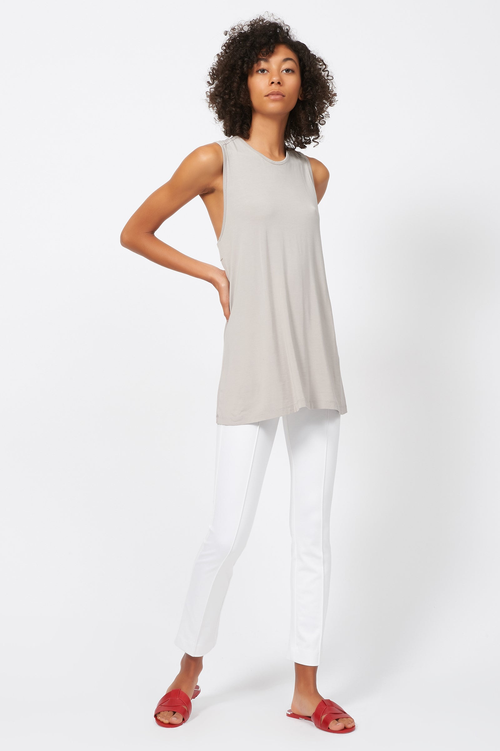 Kal Rieman Pintuck Ponte Ankle Pant in White on Model Full Front Side View