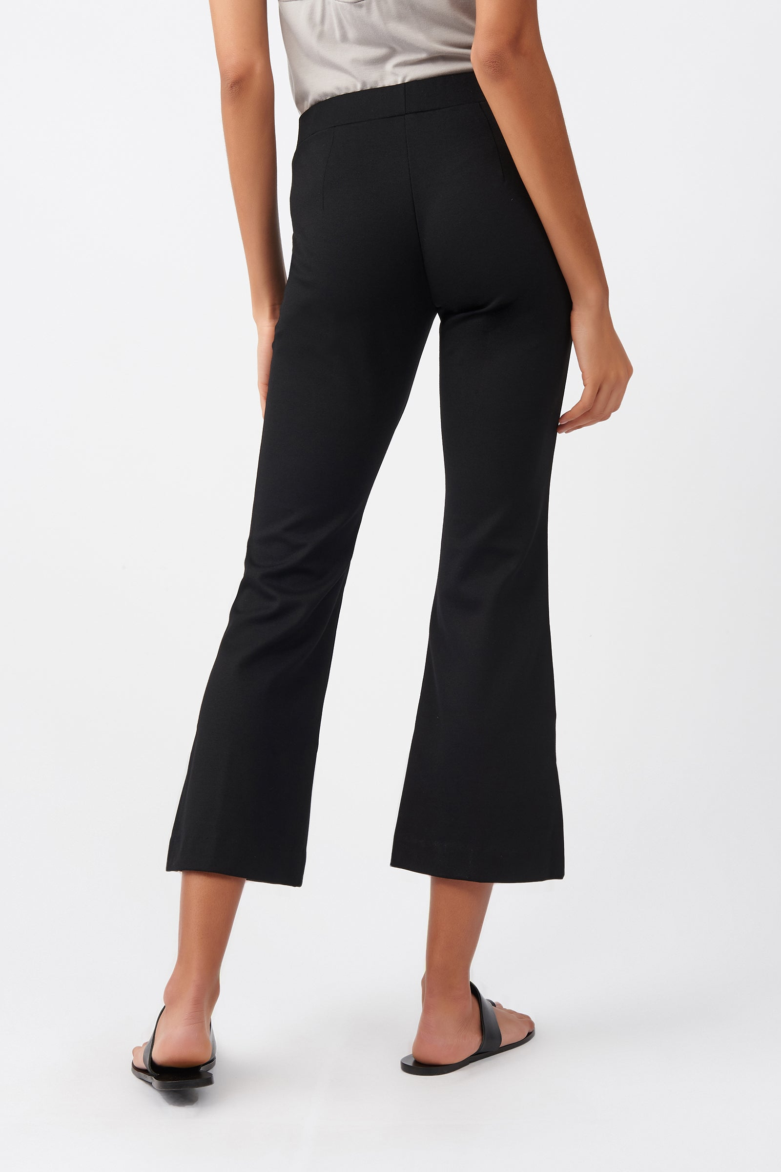 Kal Rieman Pintuck Ponte Crop Flare Pant in Black on Model Back View