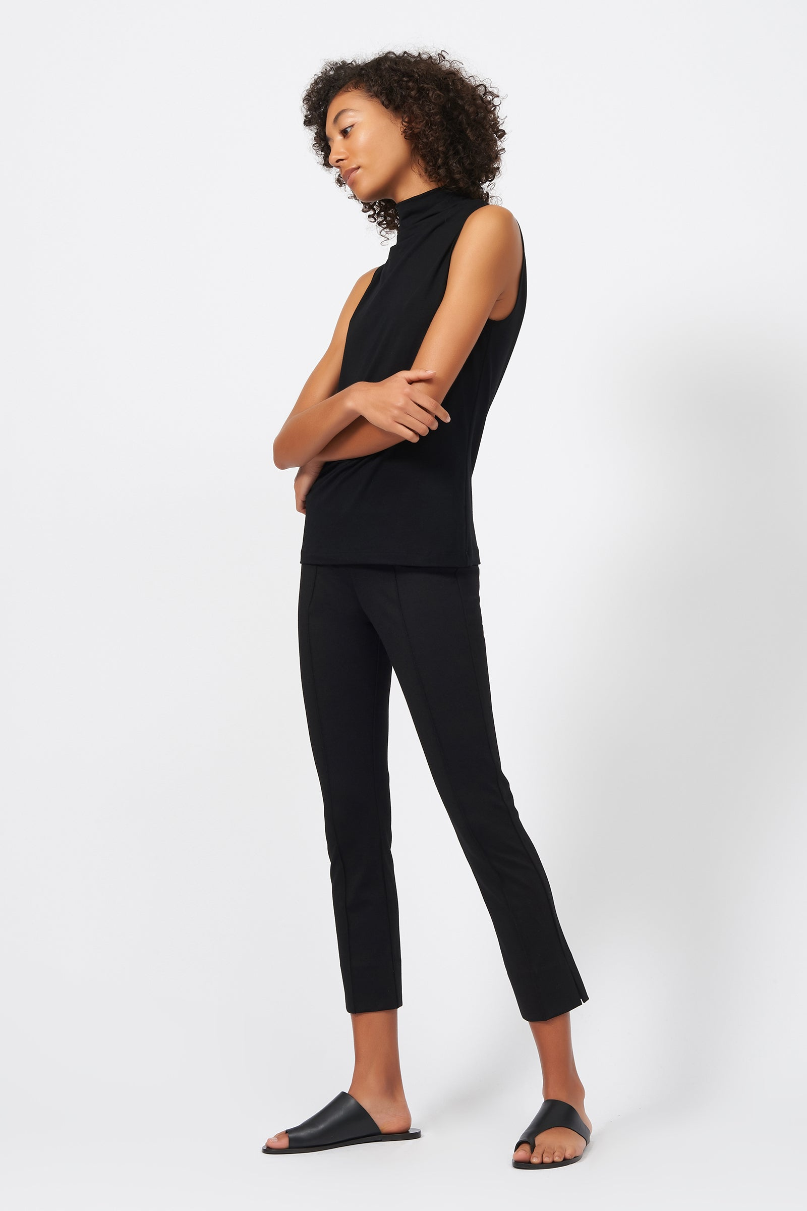 Kal Rieman Pintuck Slit Capri in Black on Model Full Front Side View