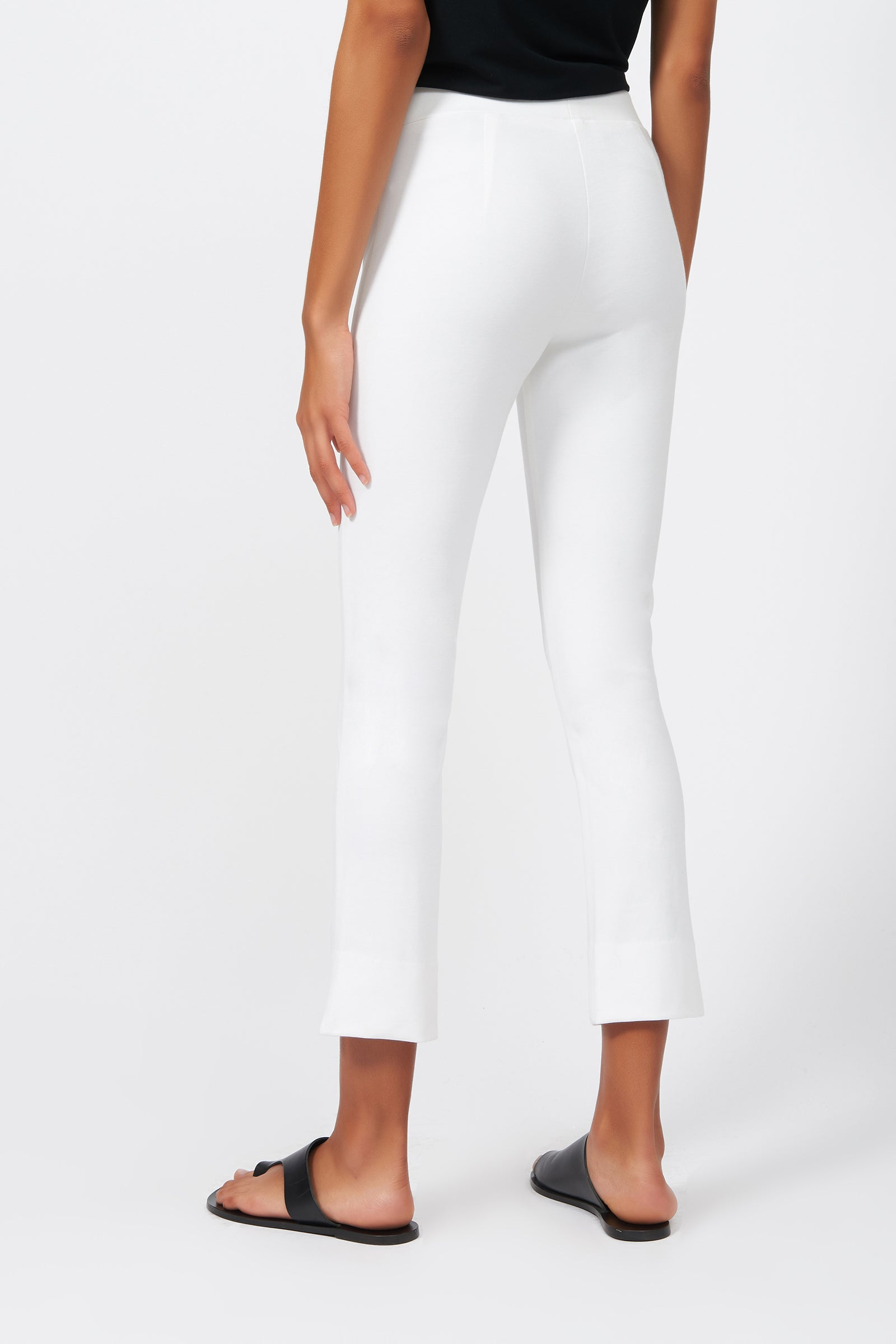 Kal Rieman Pintuck Slit Capri in White on Model Full Front View