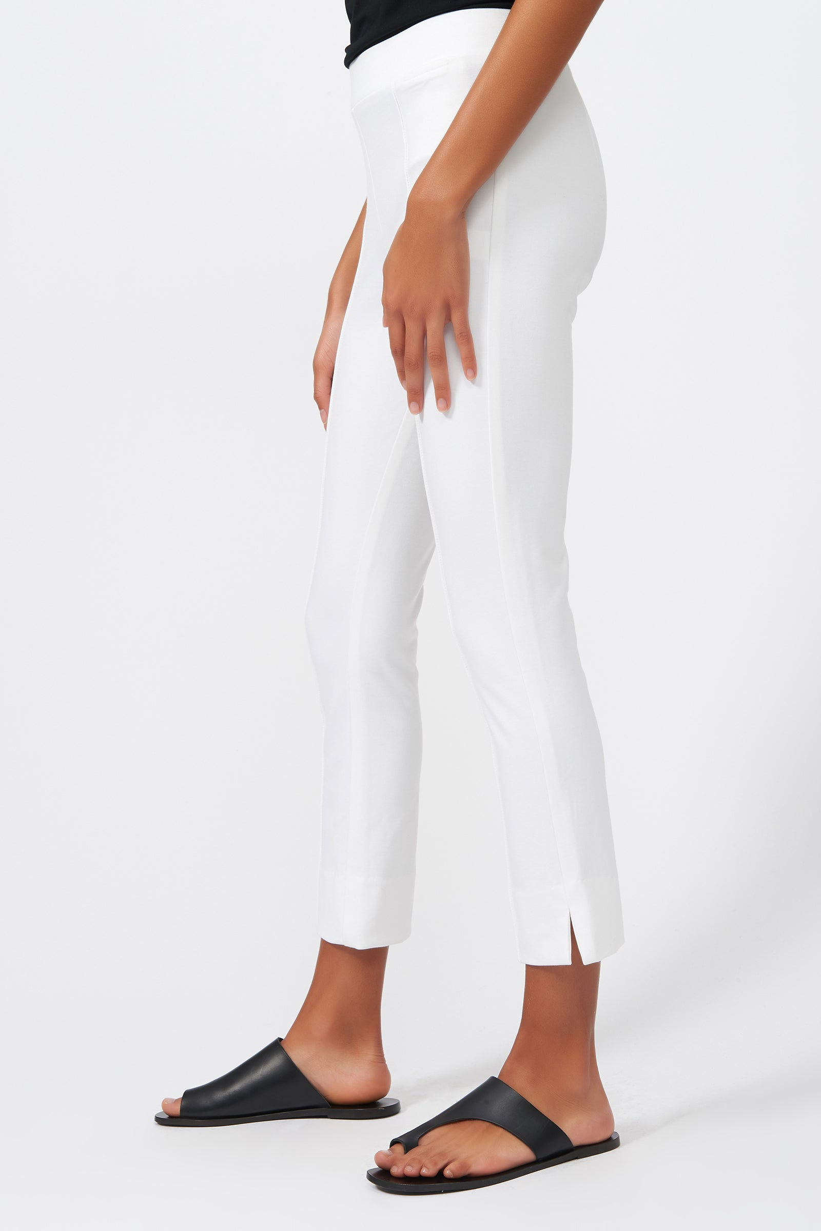 Kal Rieman Pintuck Slit Capri in White on Model Side View