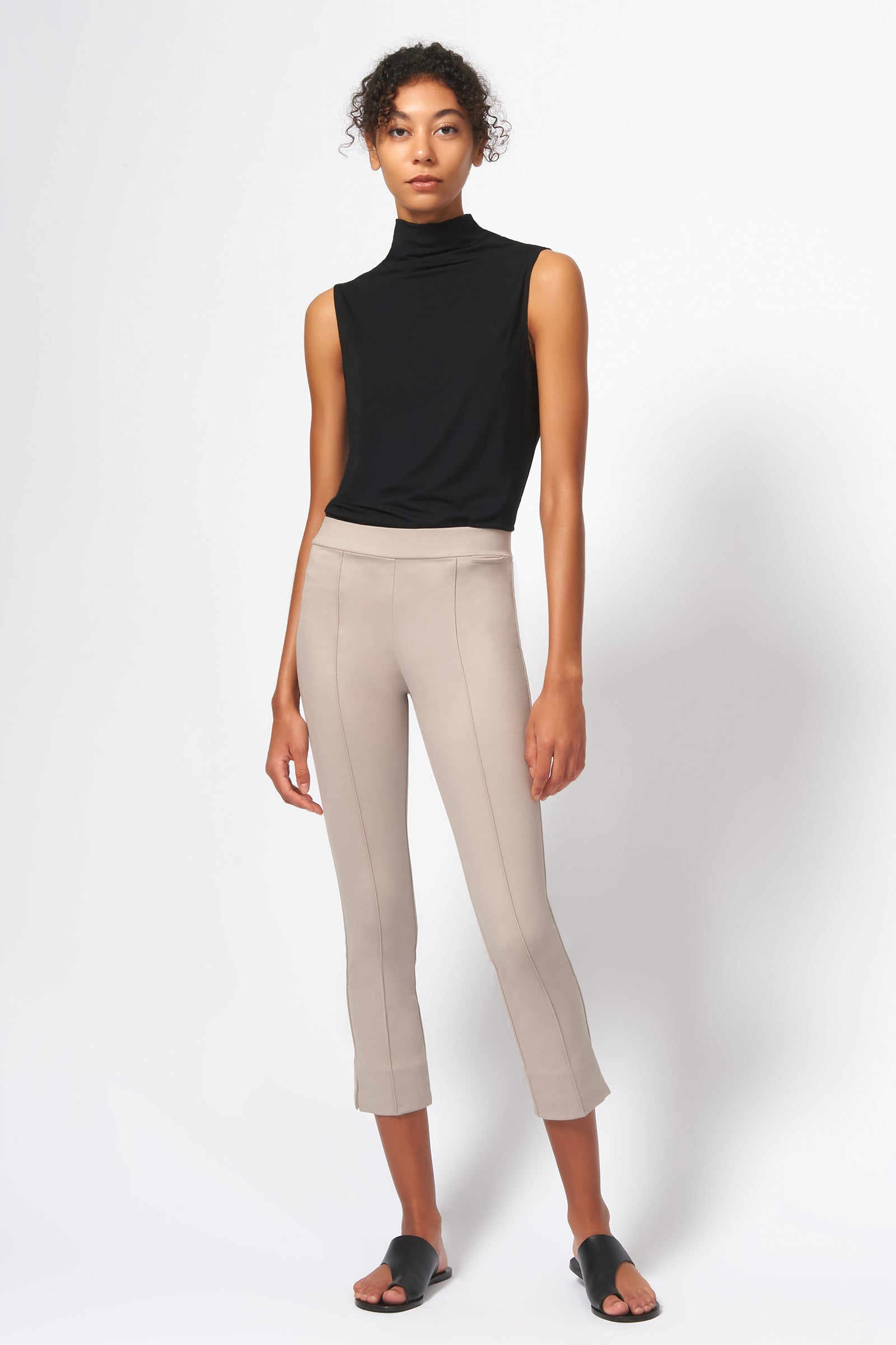 Kal Rieman Pintuck Slit Capri in Taupe on Model Front Full View