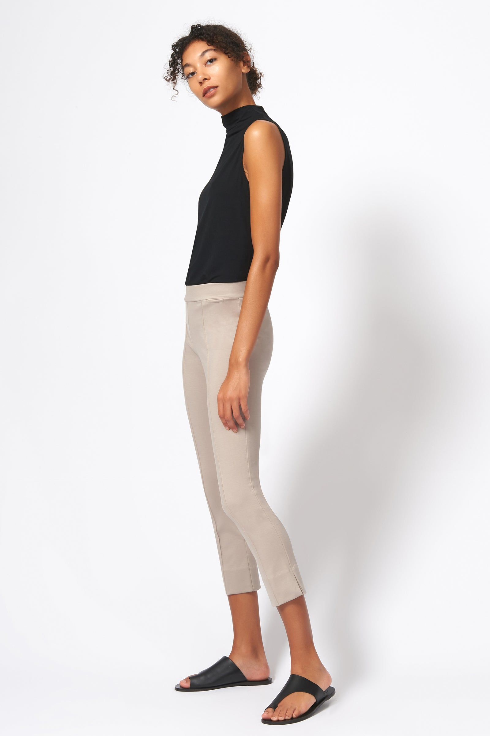Kal Rieman Pintuck Slit Capri in Taupe on Model Side View