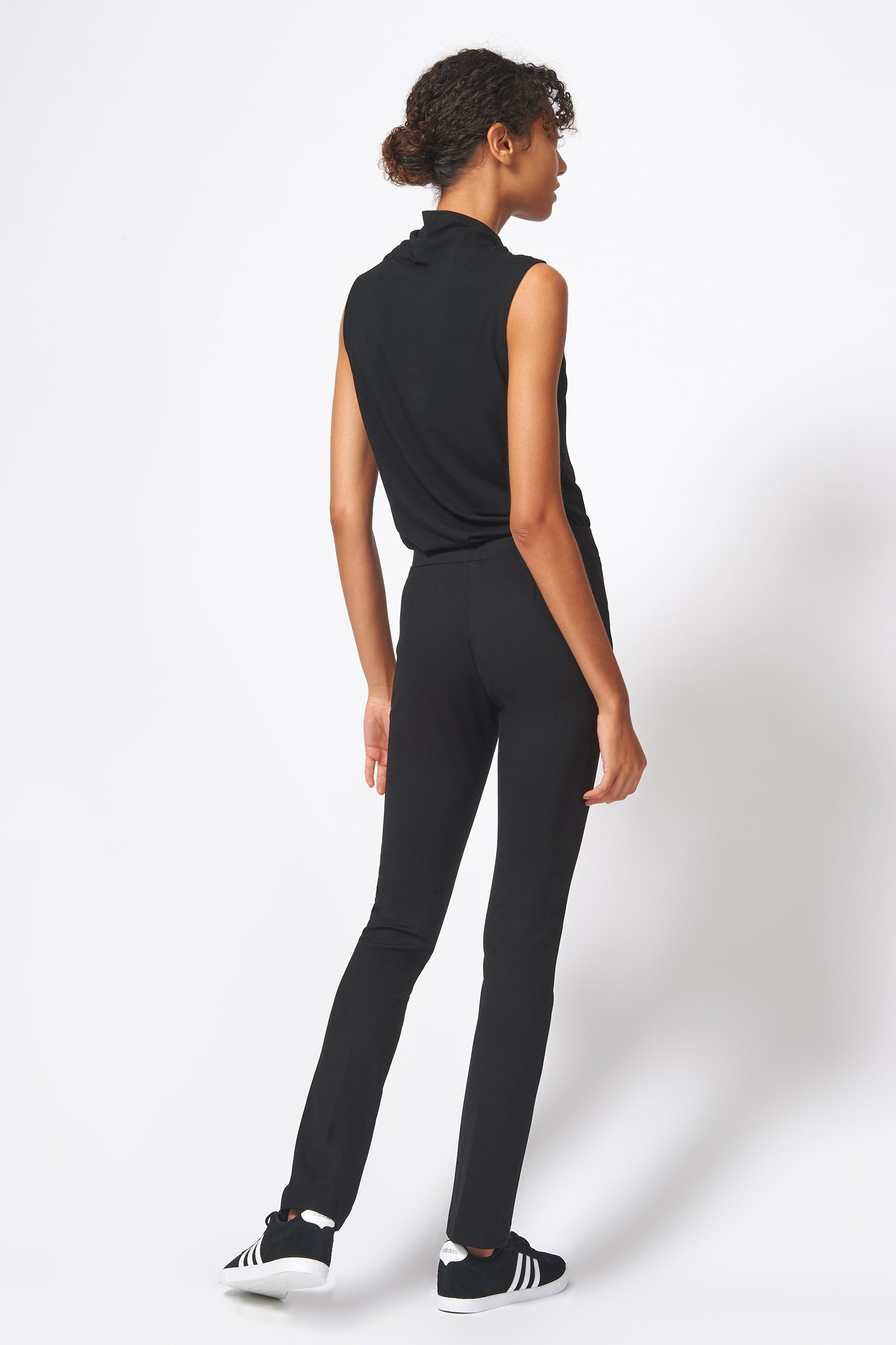 Kal Rieman Pintuck Ponte Straight Leg Pant in Black on Model Full Back View