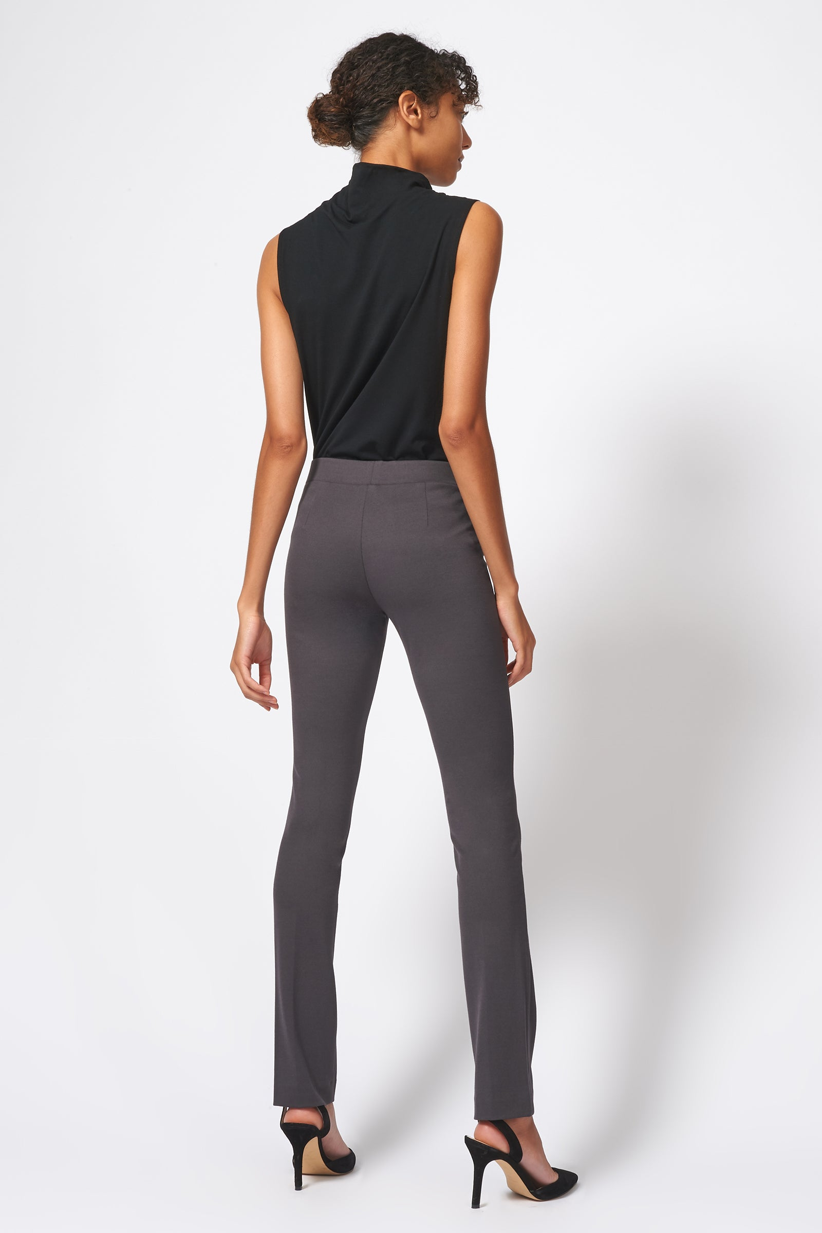 Kal Rieman Pintuck Ponte Straight Leg Pant in Charcoal on Model Front Side View