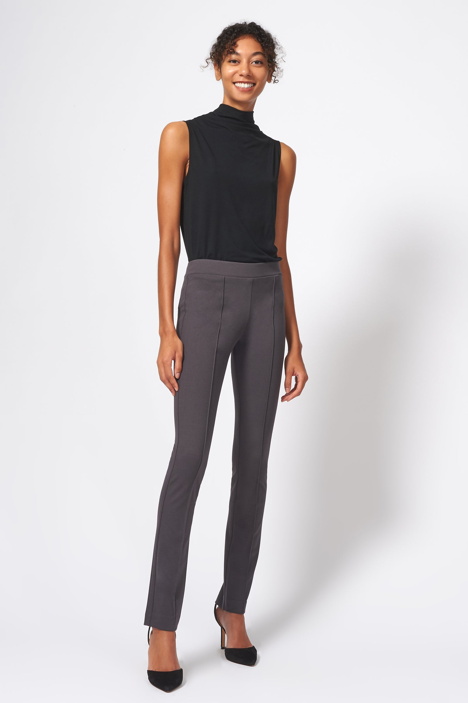 Kal Rieman Pintuck Ponte Straight Leg Pant in Charcoal on Model Full Front View