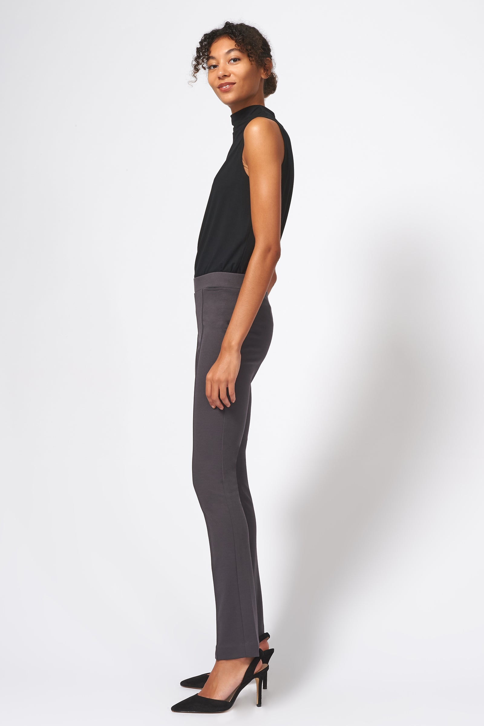 Kal Rieman Pintuck Ponte Straight Leg Pant in Charcoal on Model Full Side View