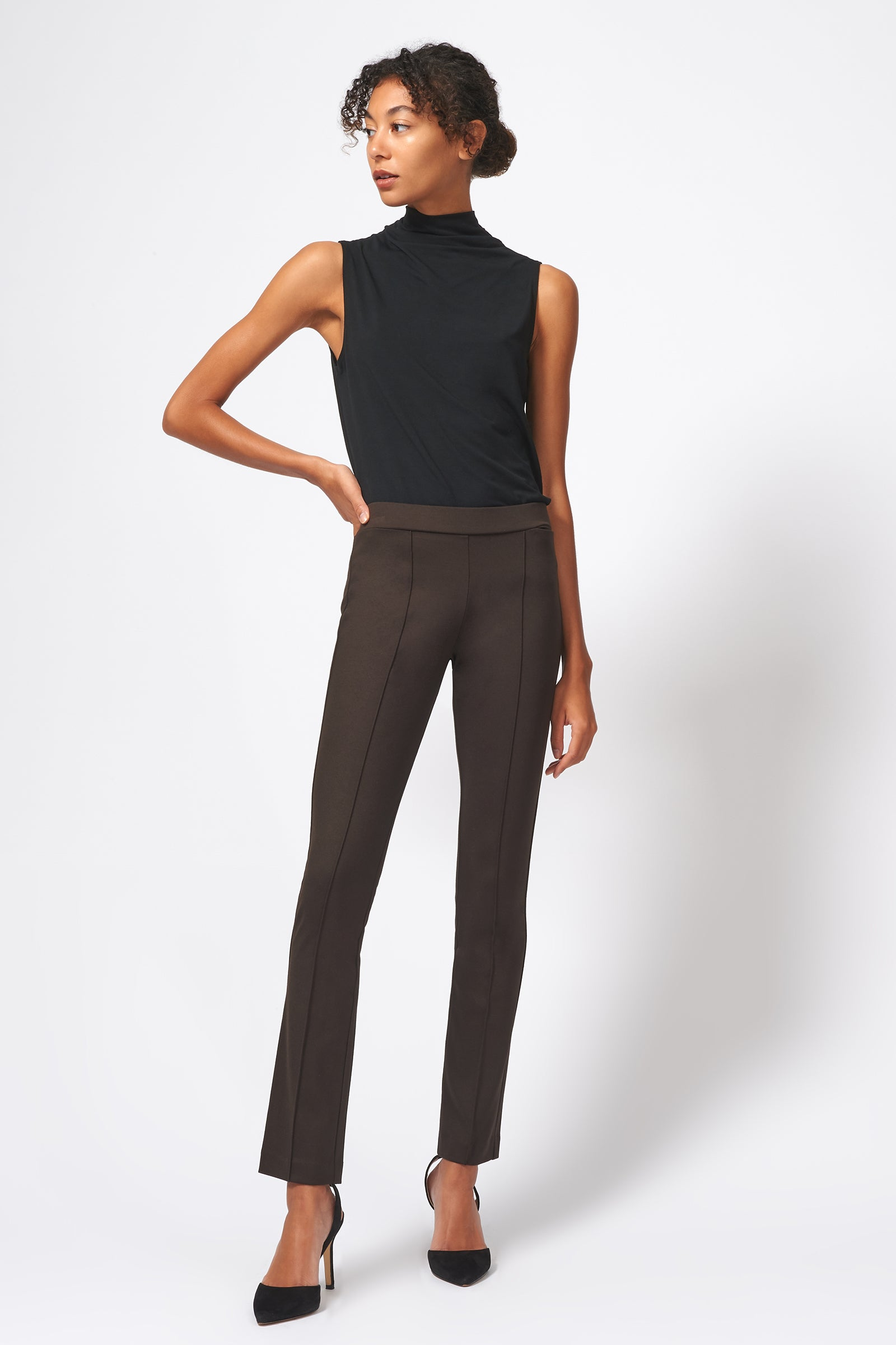 Kal Rieman Pintuck Ponte Straight Leg Pant in Espresso on Model Full Front View