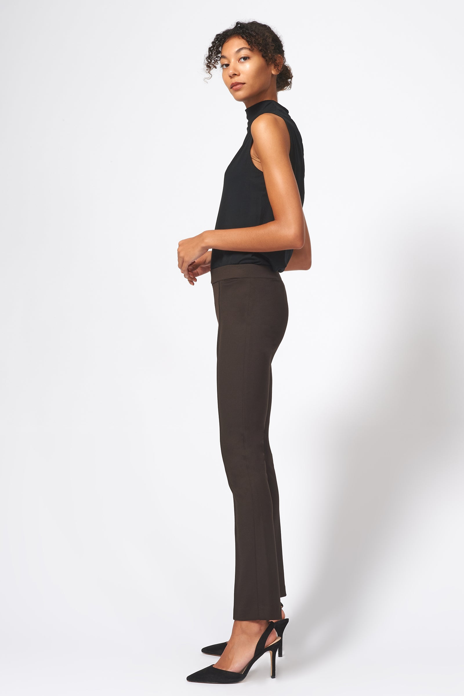 Kal Rieman Pintuck Ponte Straight Leg Pant in Espresso on Model Full Side View
