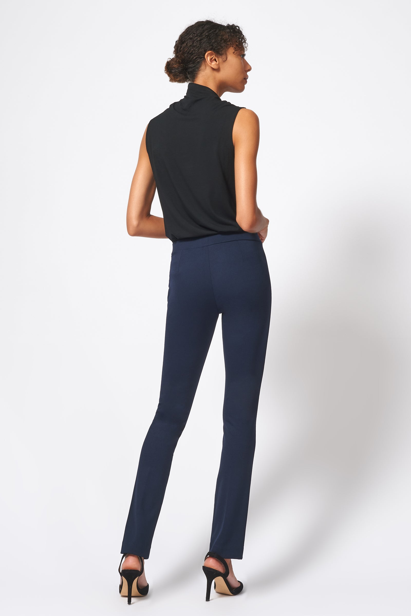Kal Rieman Pintuck Ponte Straight Leg Pant in Navy on Model Full Back View