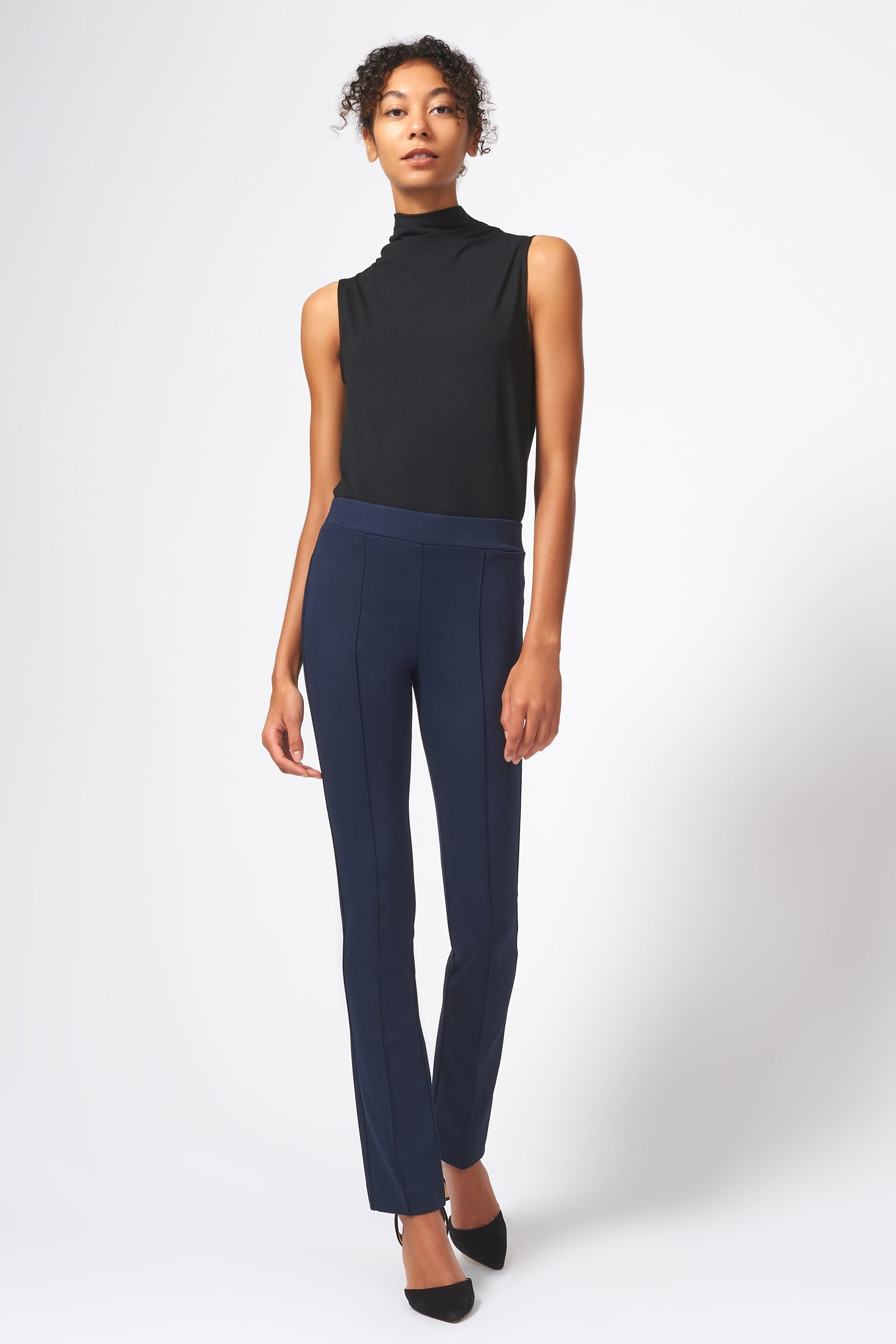 Kal Rieman Pintuck Ponte Straight Leg Pant in Navy on Model Full Front View