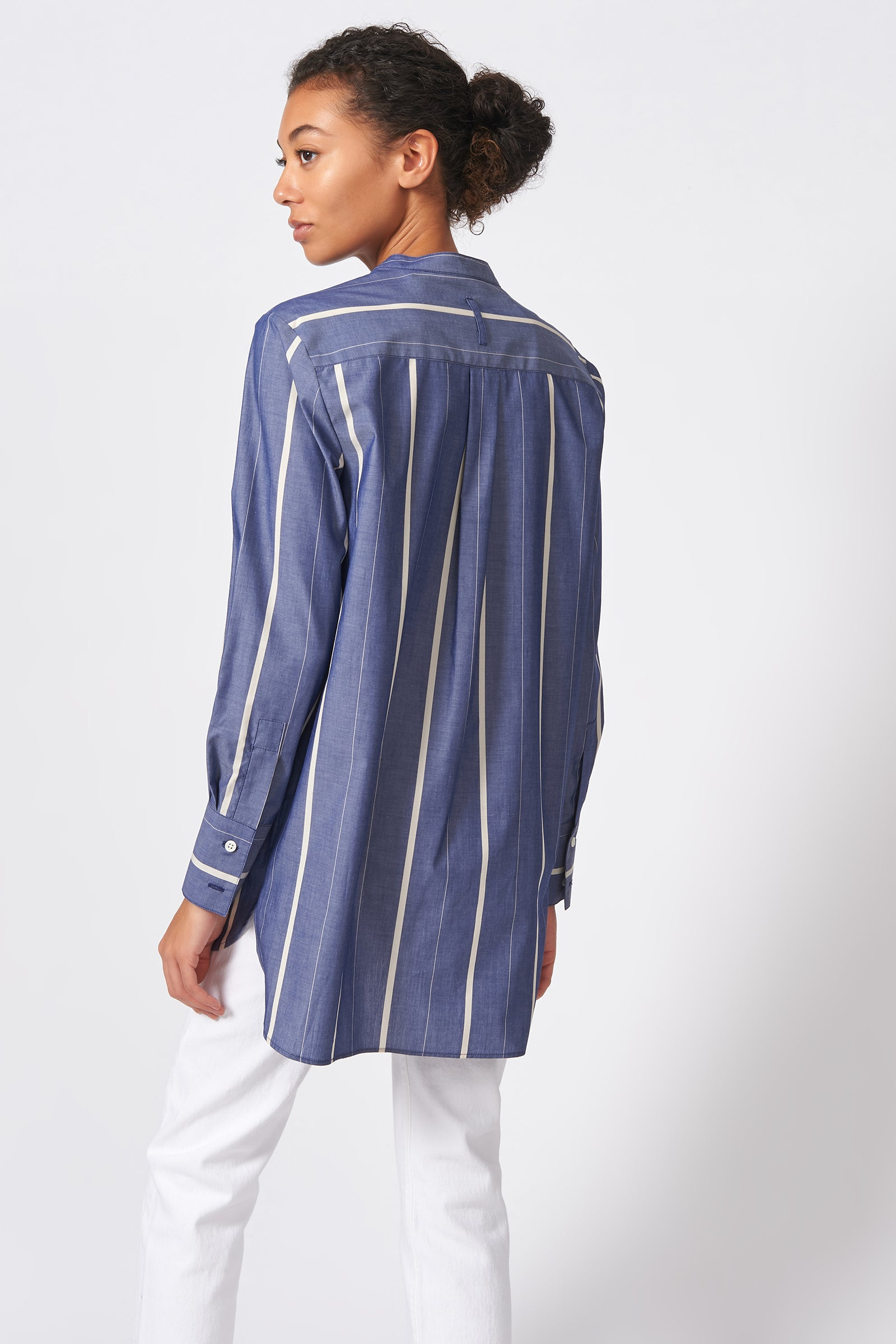 Kal Rieman Placket Front Tunic in Chambray Stripe on Model Back View