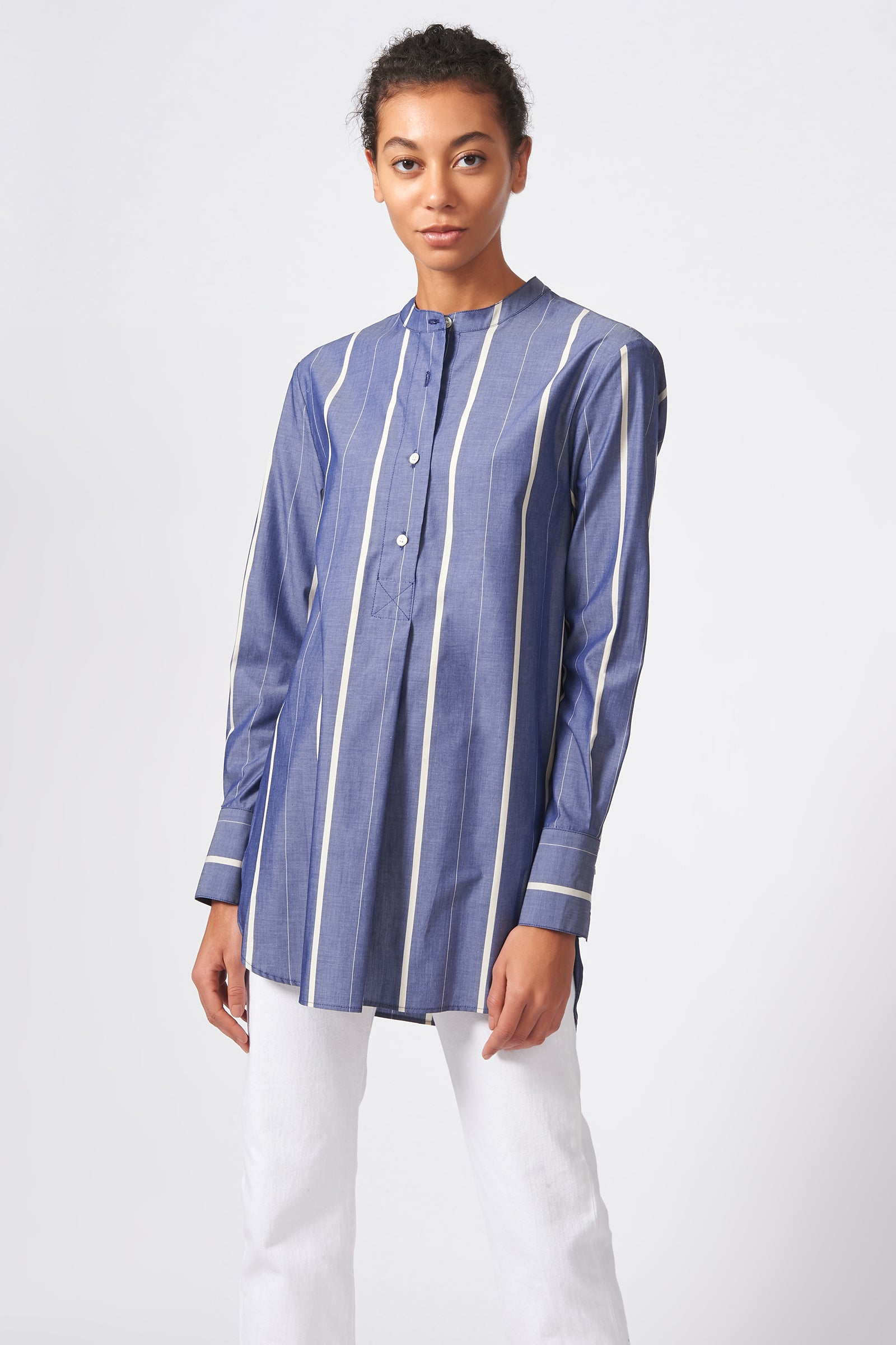 Kal Rieman Placket Front Tunic in Chambray Stripe on Model Front View