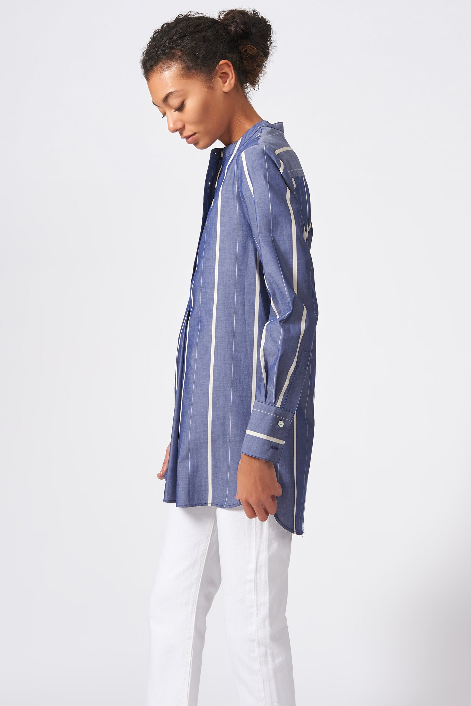 Kal Rieman Placket Front Tunic in Chambray Stripe on Model Side View
