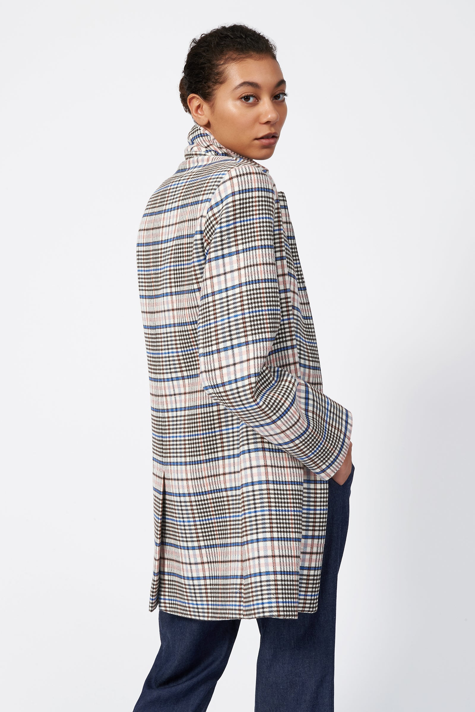 Kal Rieman Plaid Car Coat on Model Back View
