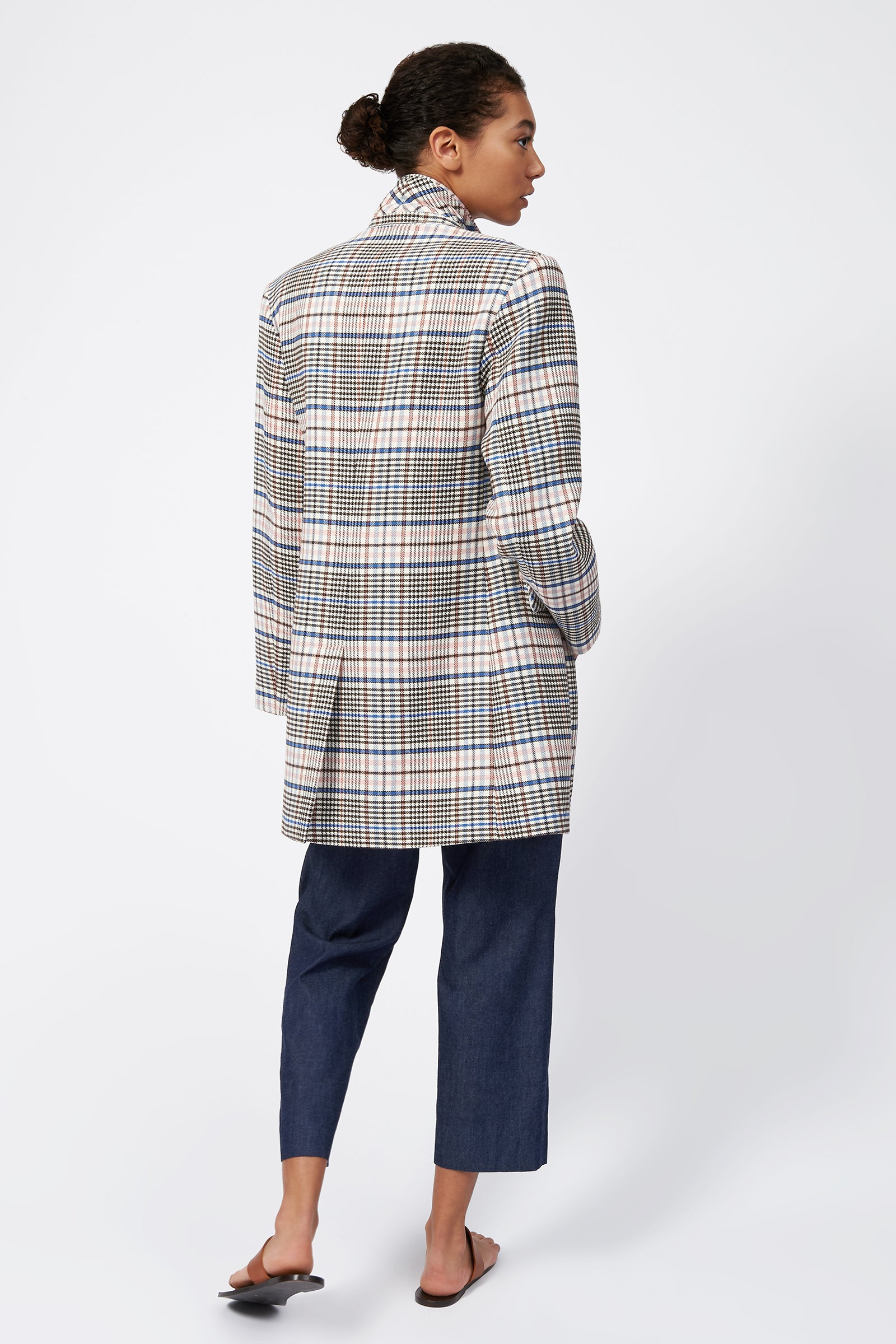 Kal Rieman Plaid Car Coat on Model Full Back View