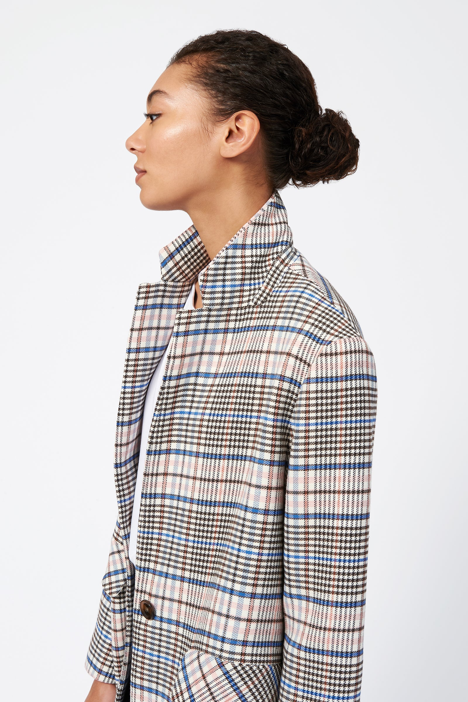 Kal Rieman Plaid Car Coat on Model Side Detail View