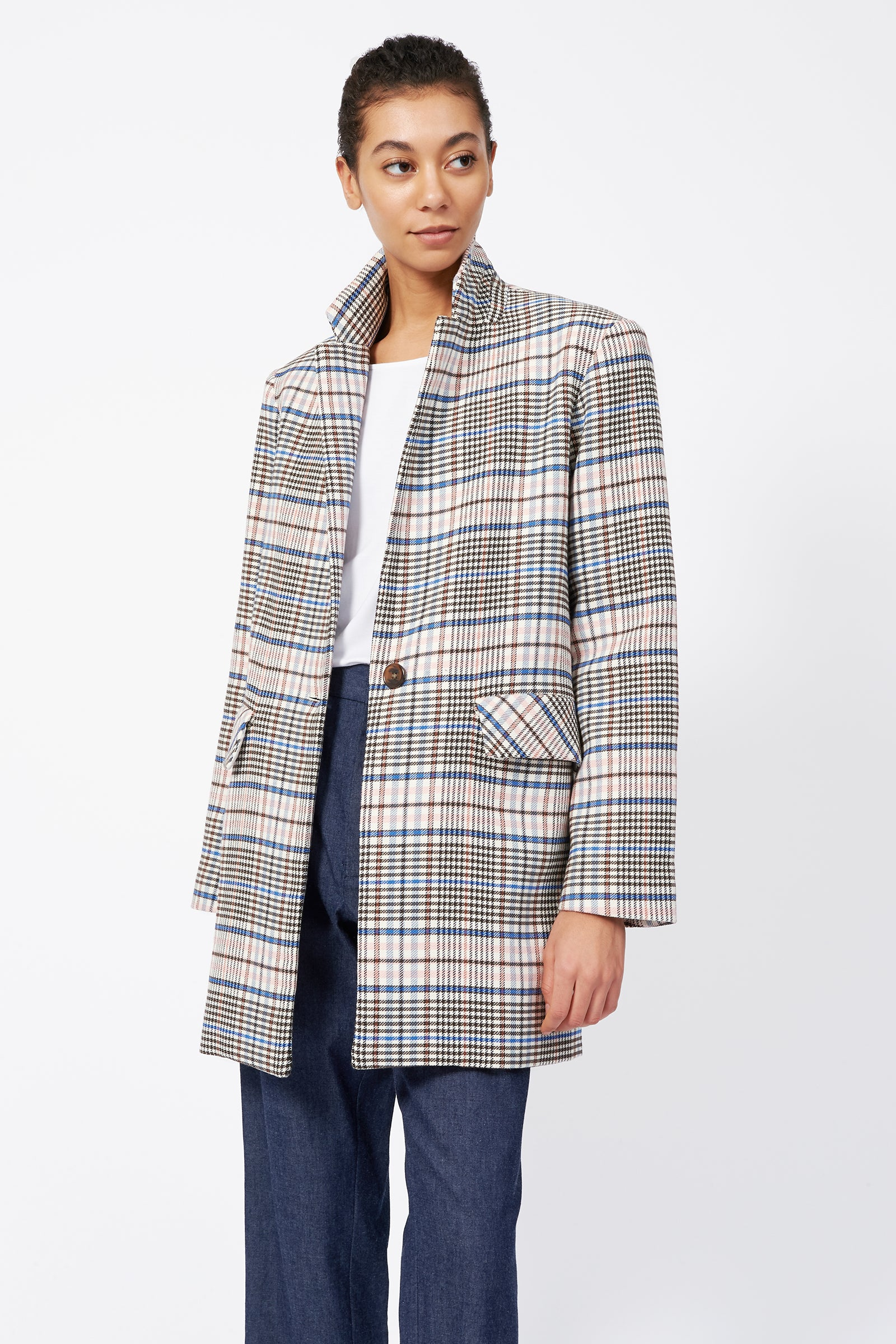 Kal Rieman Plaid Car Coat on Model Front Side View