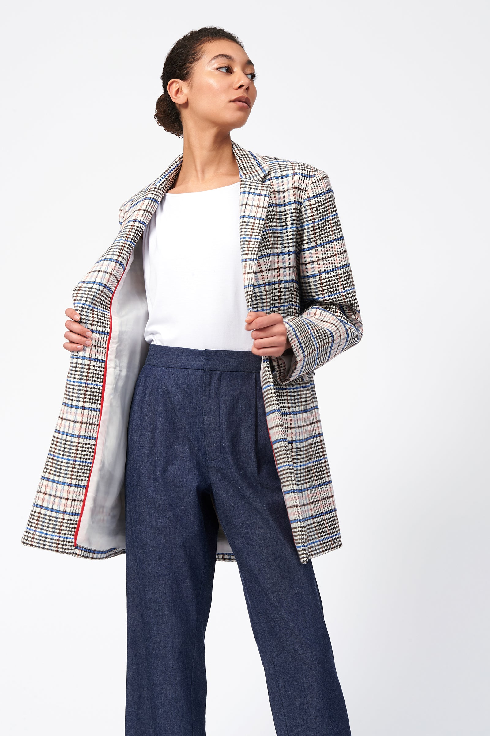 Kal Rieman Plaid Car Coat on Model Front Open View