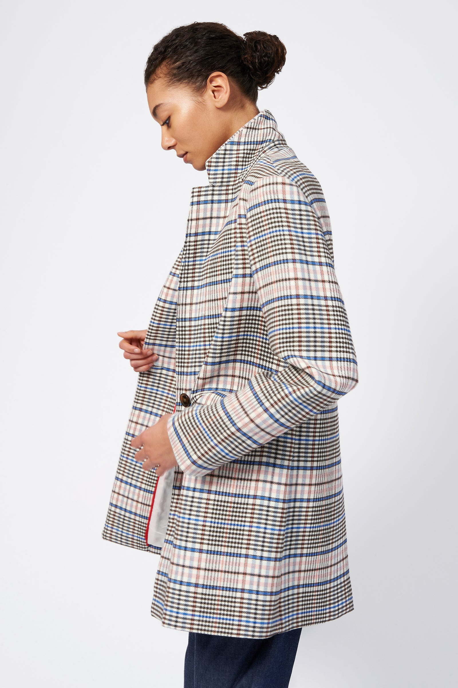 Kal Rieman Plaid Car Coat on Model Side View