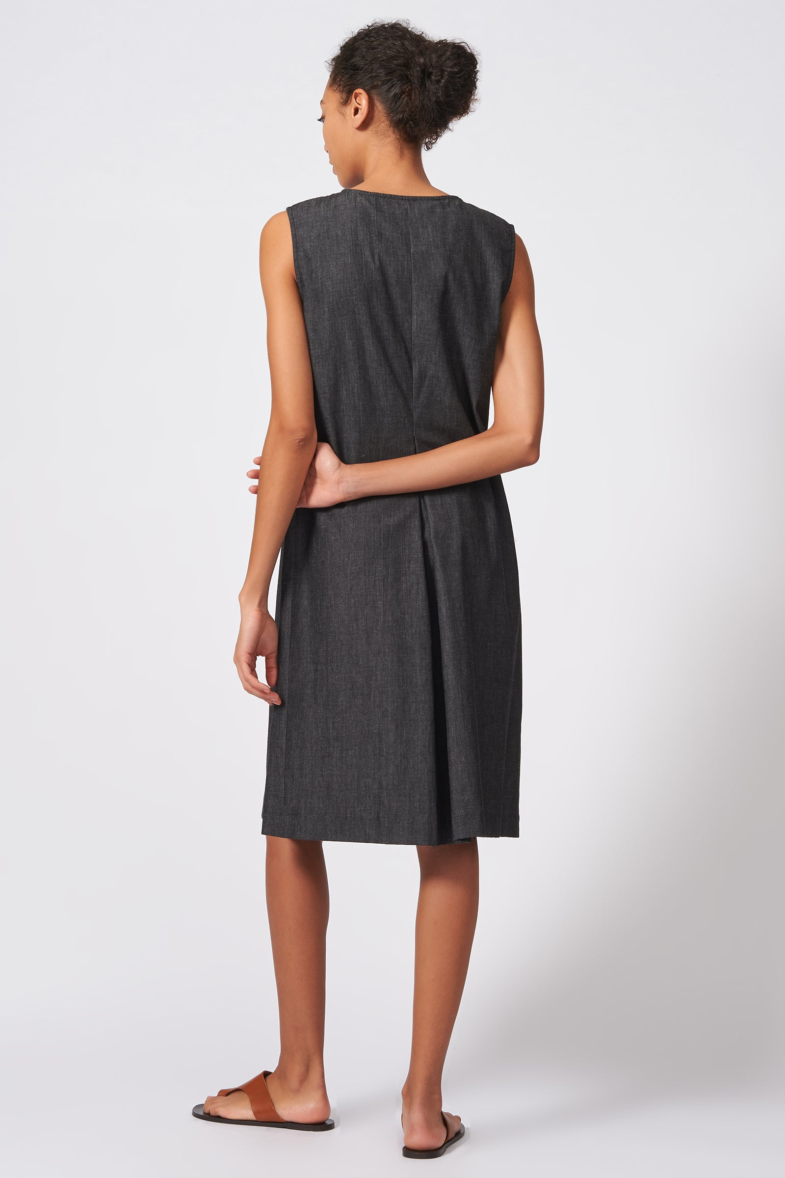 Kal Rieman Pleat Front Zip Dress in Dark Denim on Model Full Back View