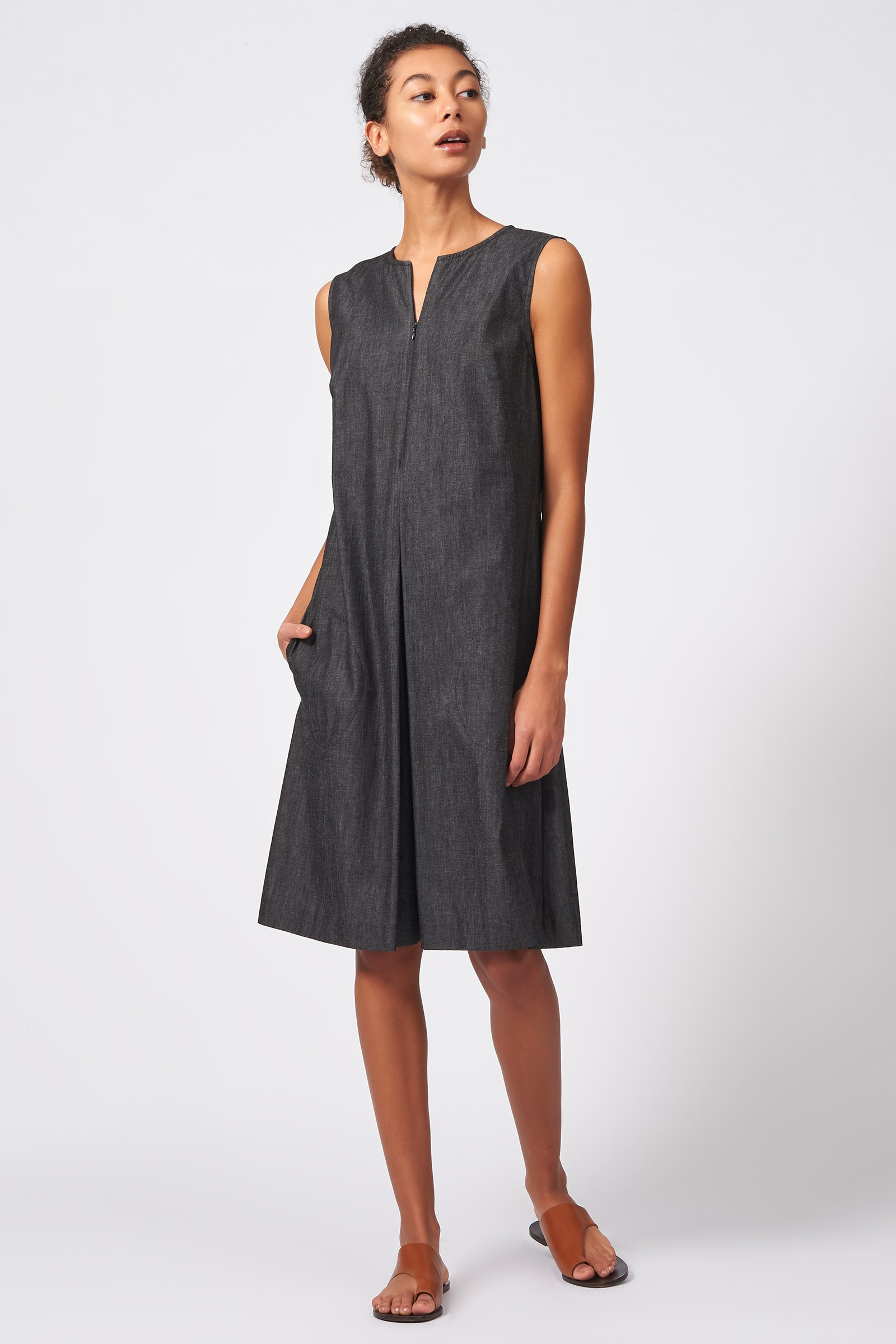 Kal Rieman Pleat Front Zip Dress in Dark Denim on Model Full Front View