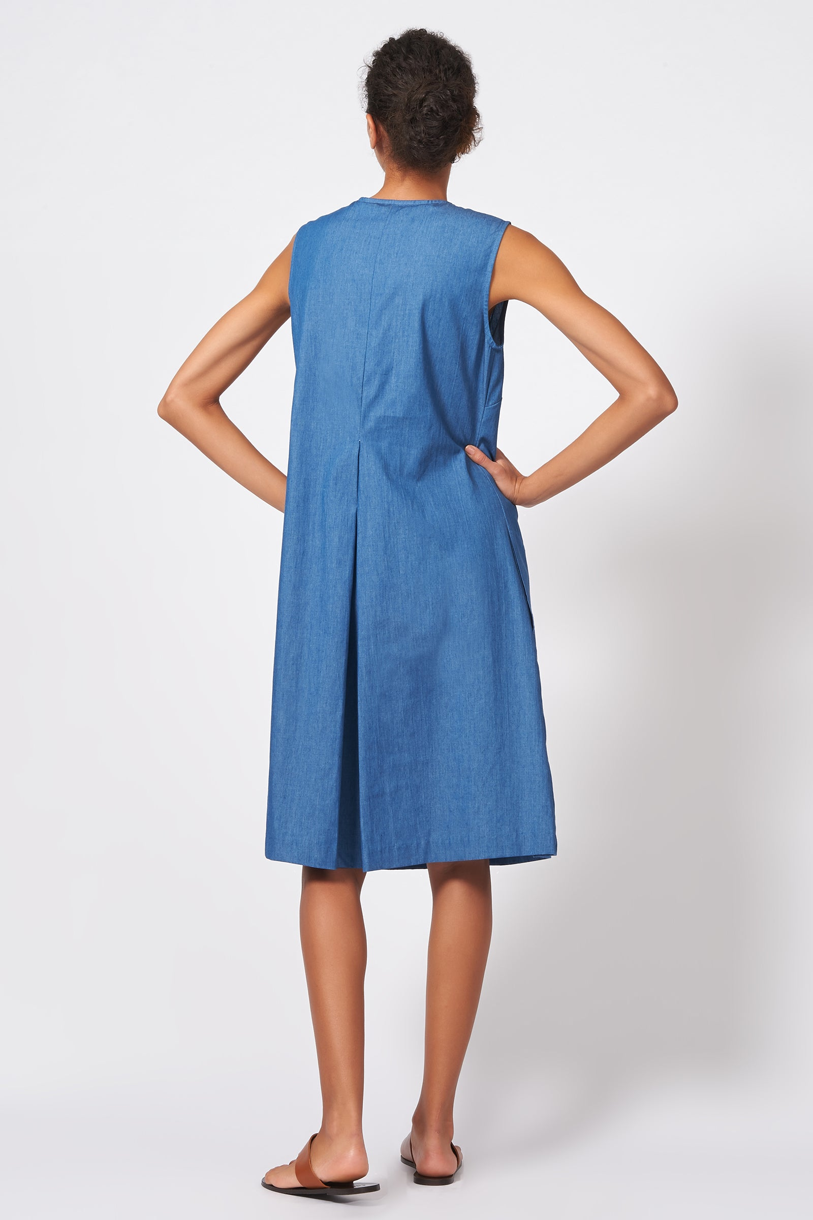 Kal Rieman Pleat Front Zip Dress in Light Indigo on Model Full Front View