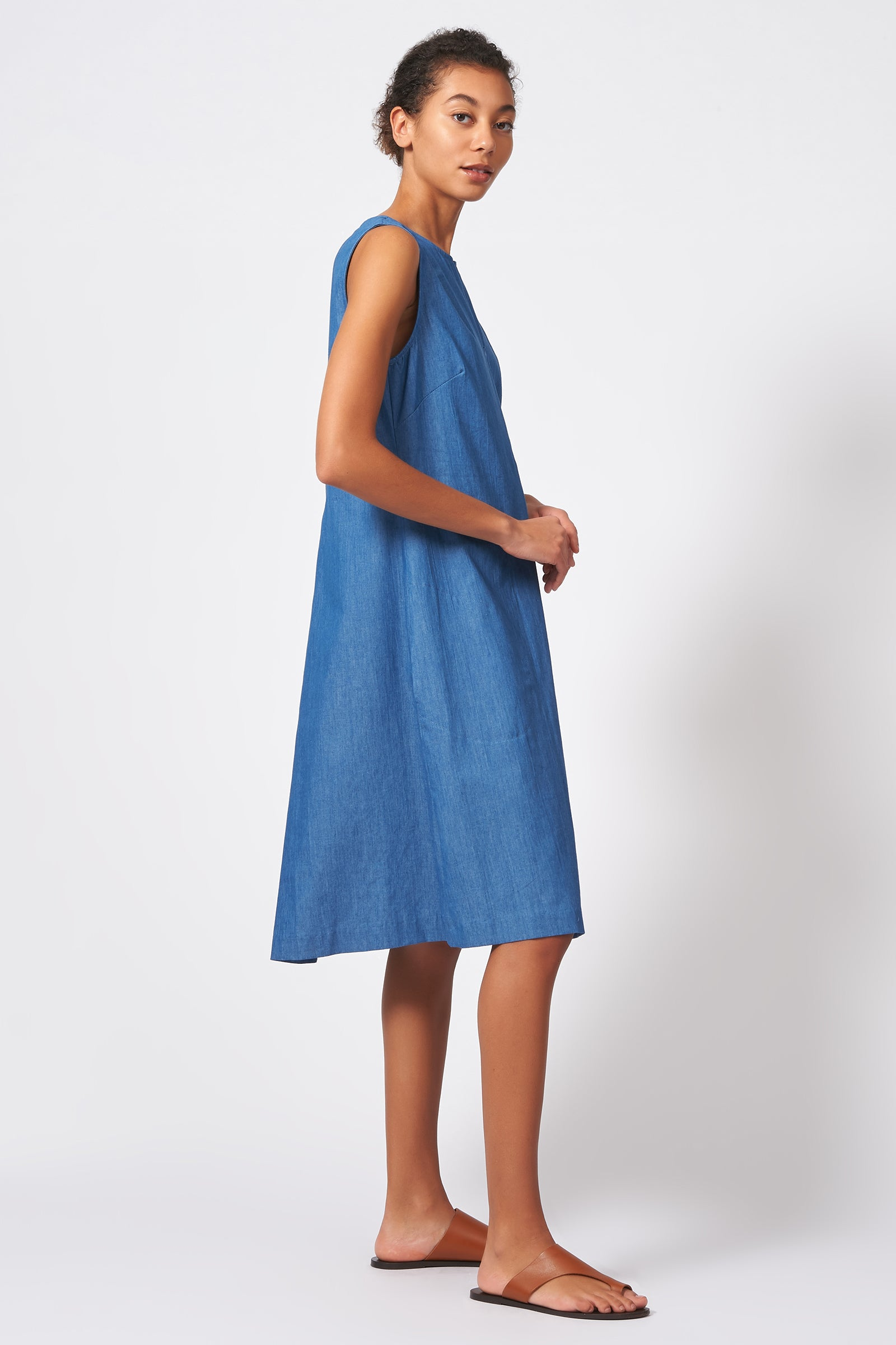Kal Rieman Pleat Front Zip Dress in Light Indigo on Model Full Side View