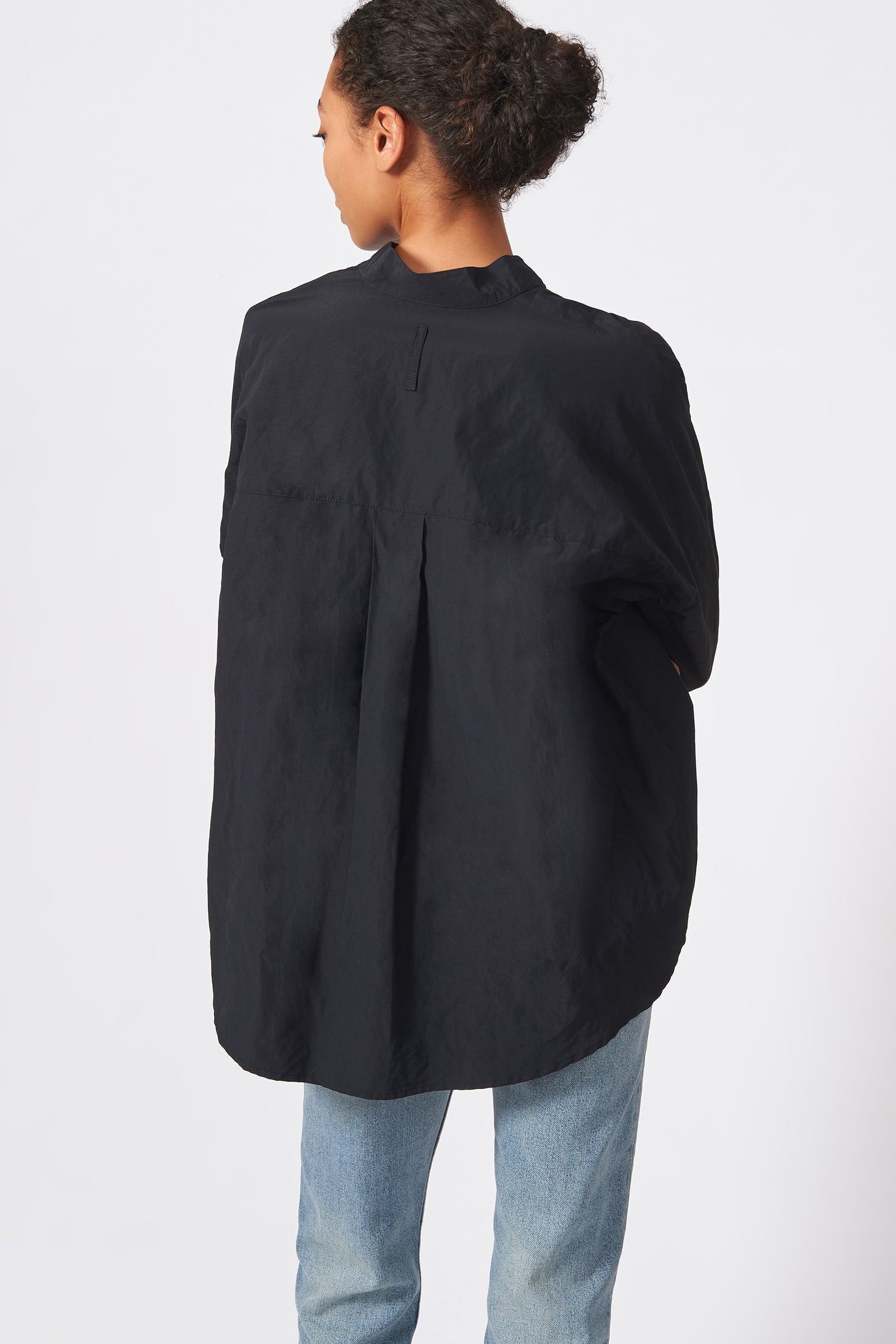 Kal Rieman Pleat Hem Kimono Cotton Nylon in Black on Model Back View